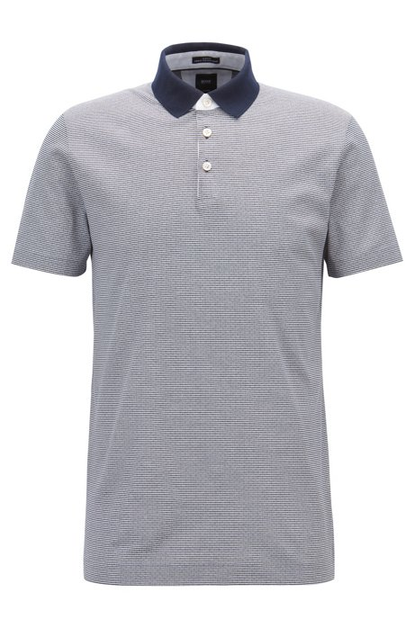 7d4be085d BOSS - Tailored slim-fit polo shirt in monogram-printed cotton