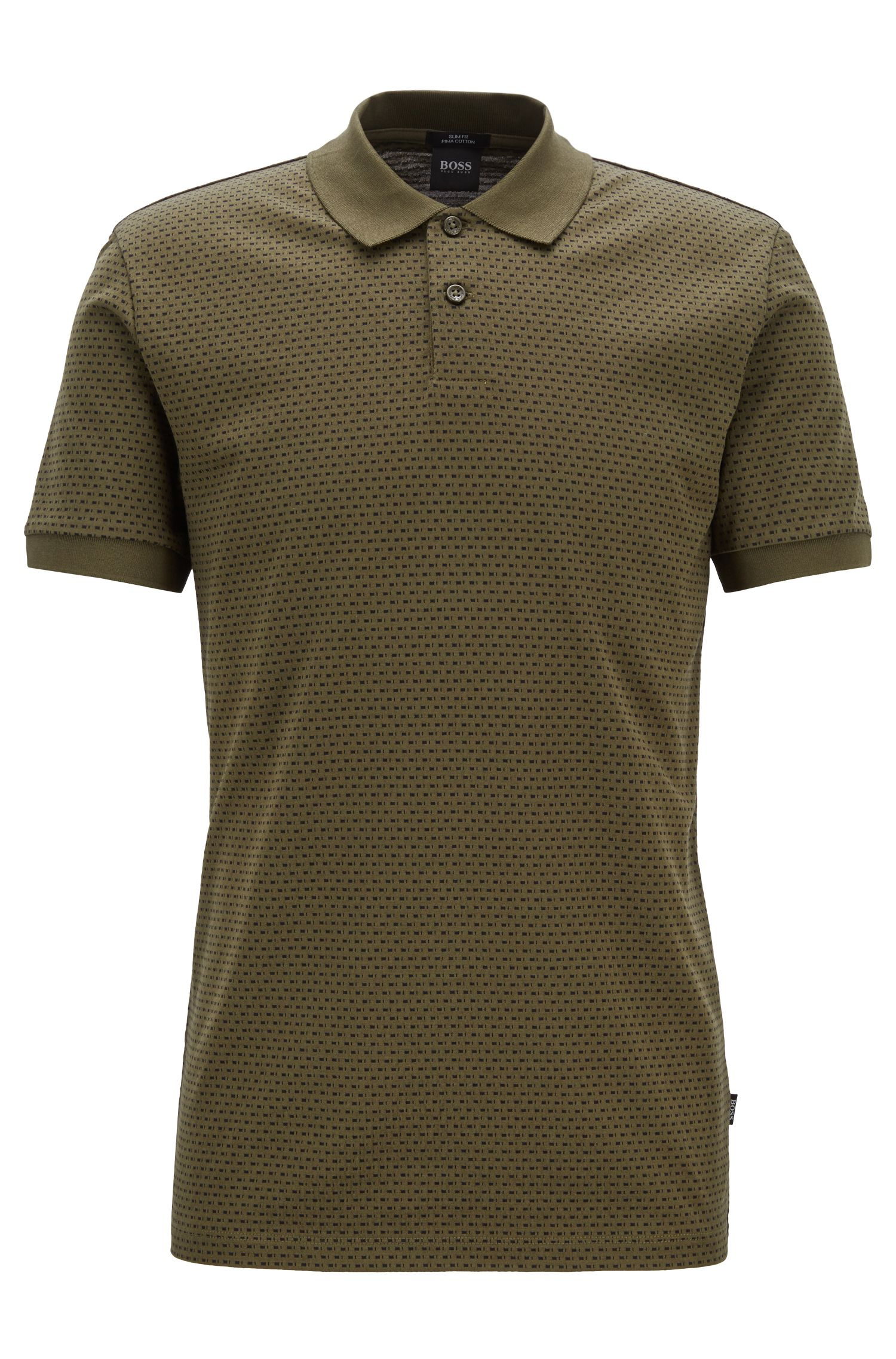 Slim-fit polo shirt in micro-patterned mercerized cotton, Dark Green