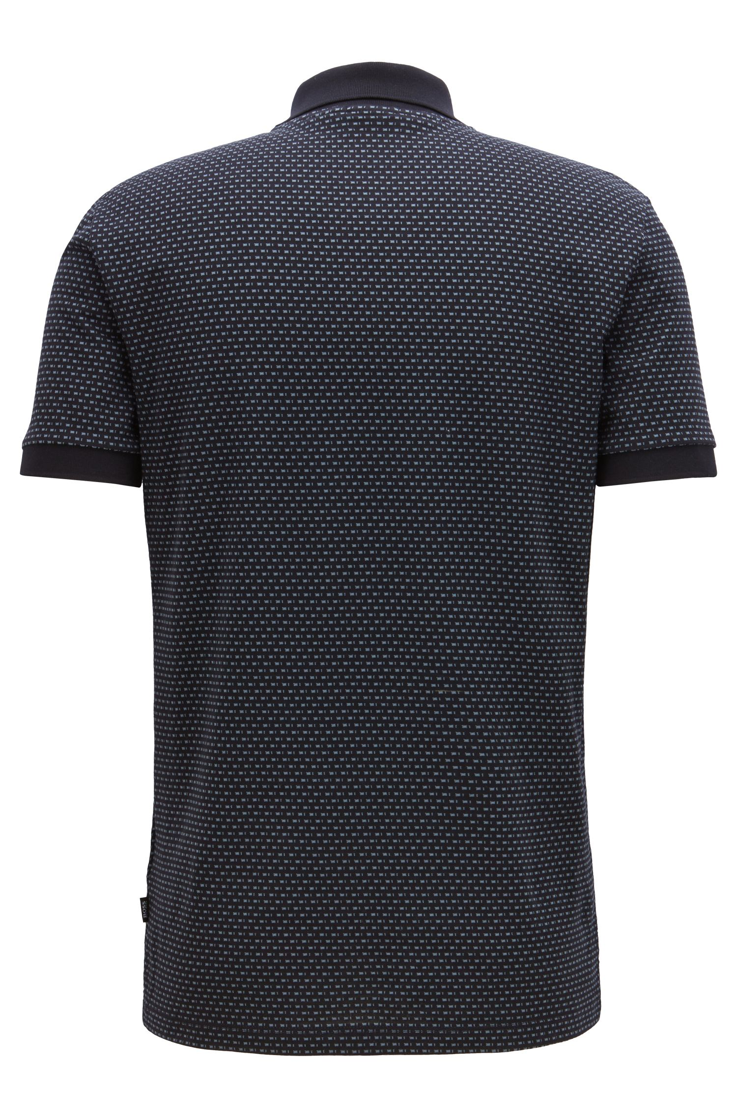 Slim-fit polo shirt in micro-patterned mercerized cotton, Open Blue