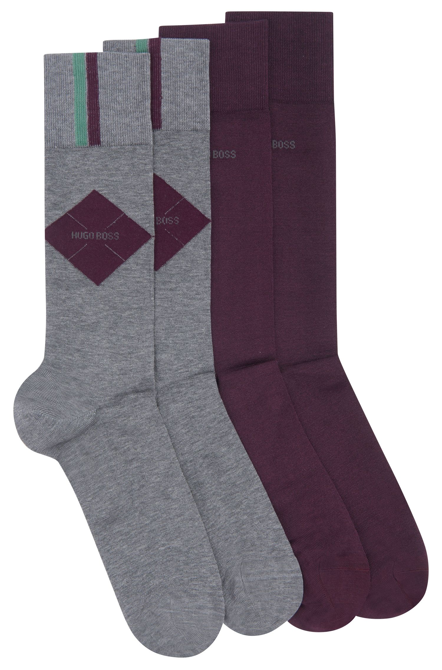 Two-pack of socks in a mercerized cotton blend, Grey