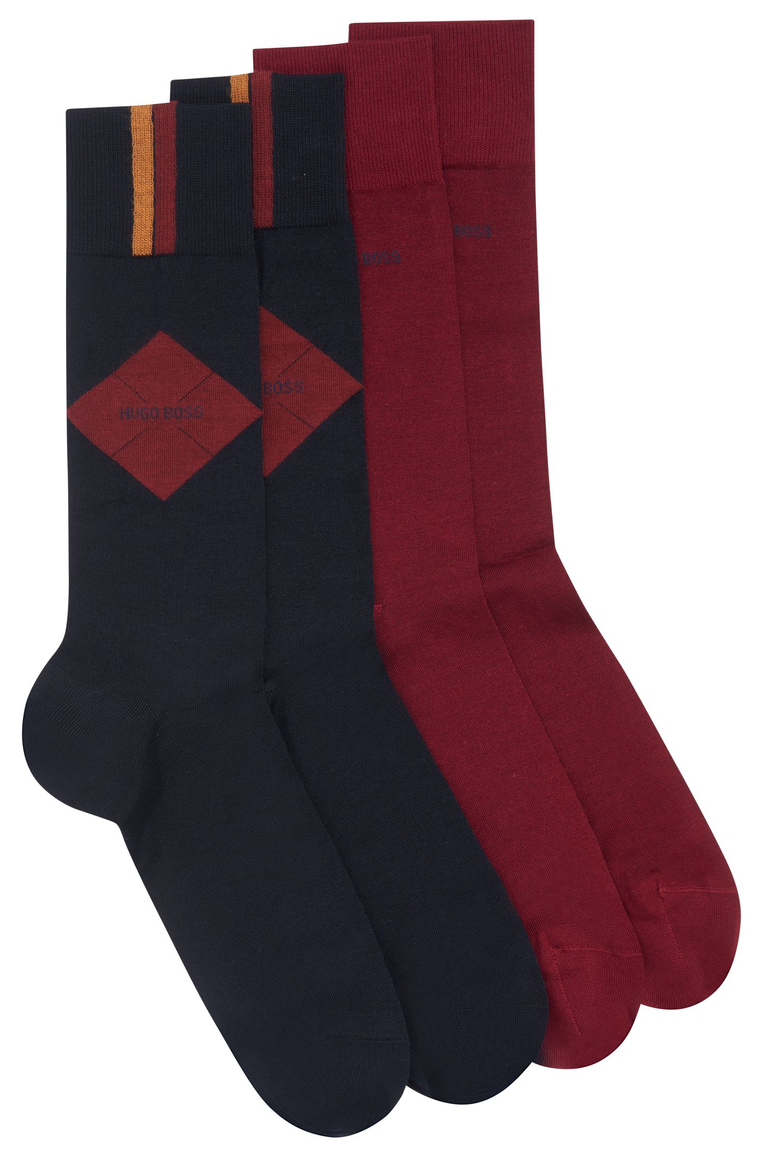 Two-pack of socks in a mercerized cotton blend, Dark Blue