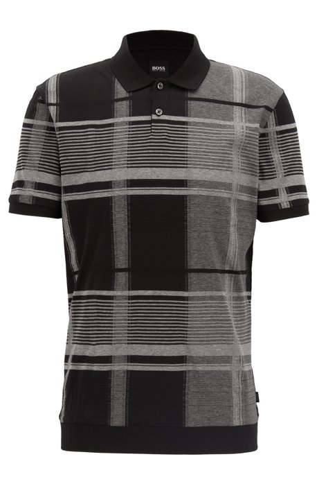 Windowpane check polo shirt in mercerized-cotton fil-coupé intarsia, Black
