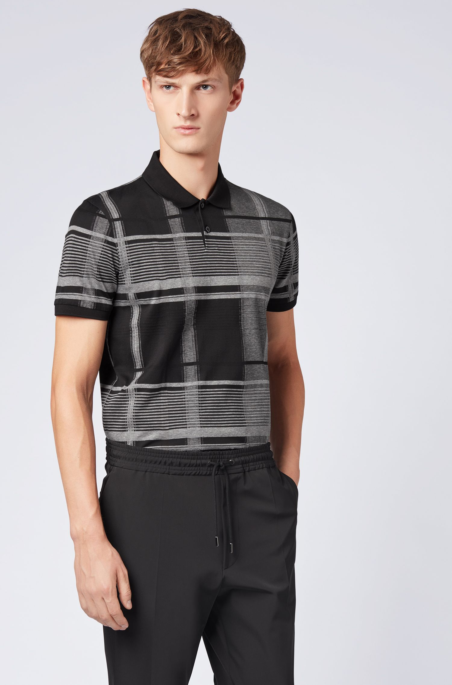 Windowpane check polo shirt in mercerized-cotton fil-coupé intarsia, Black