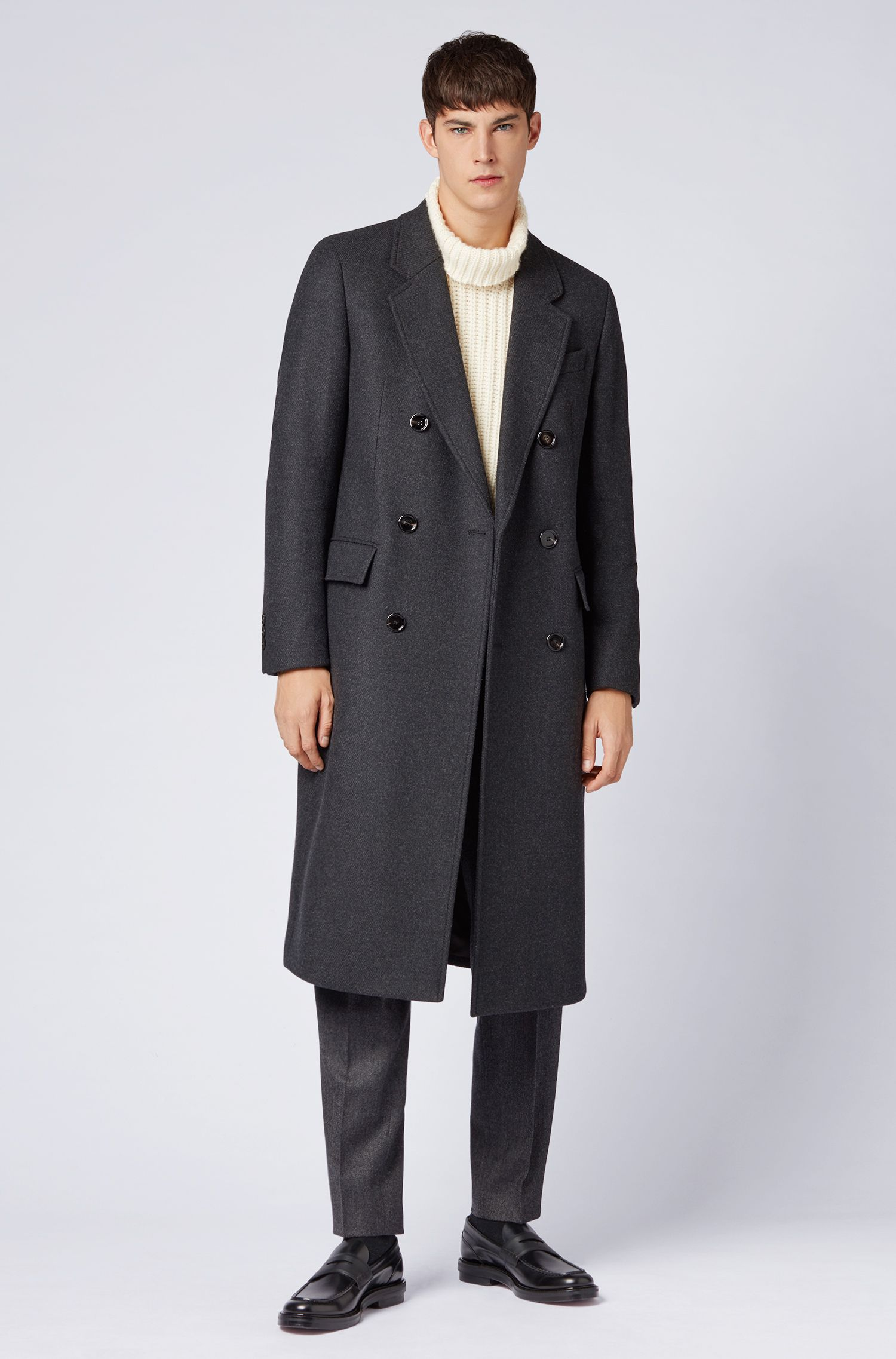 Fashion Show Capsule coat in melange virgin wool with cashmere, Open Grey