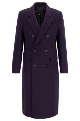 Fashion Show Capsule coat in melange virgin wool with cashmere, Dark Purple
