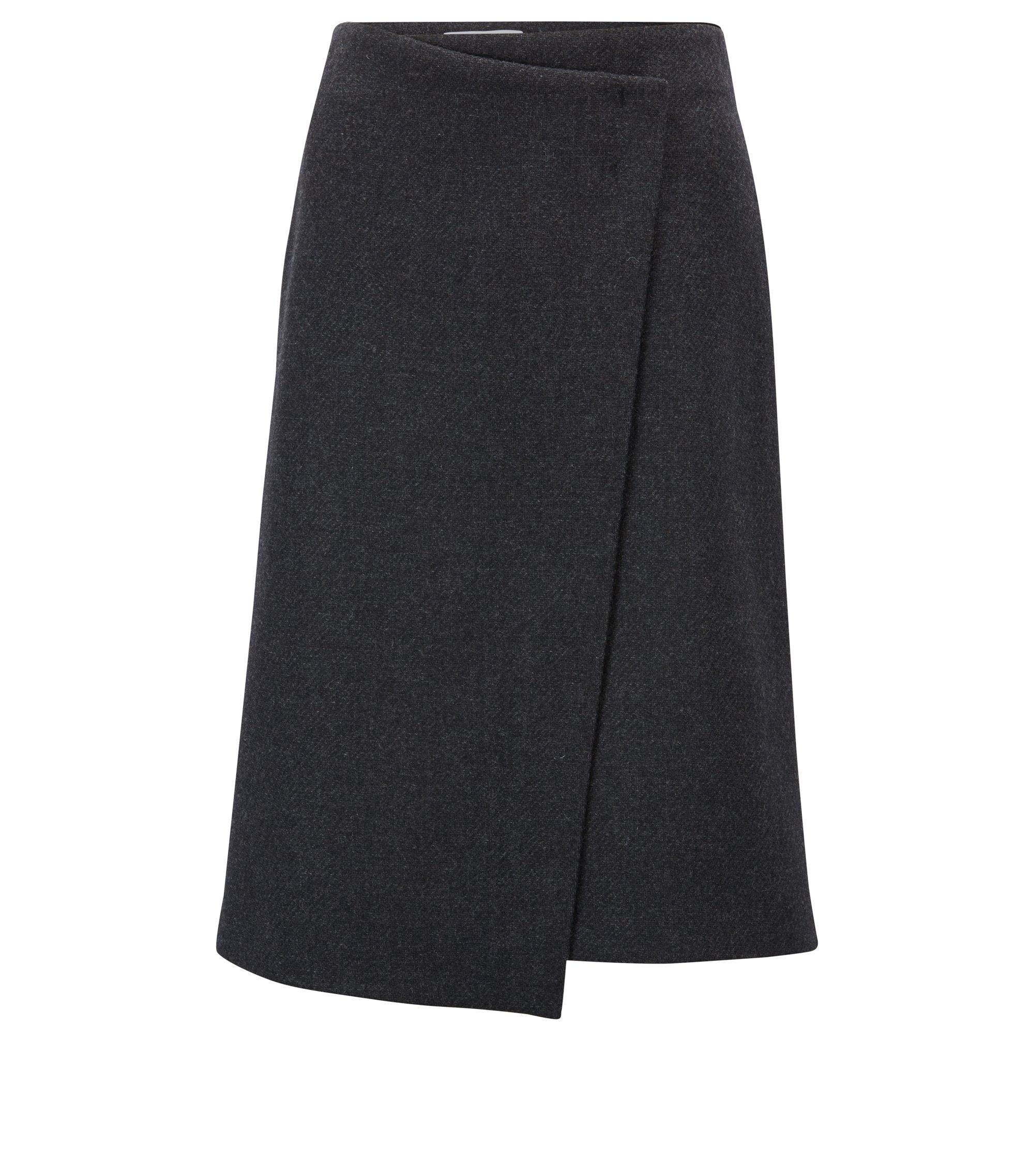 Italian wool-blend wrap skirt with bar-tack detail, Black