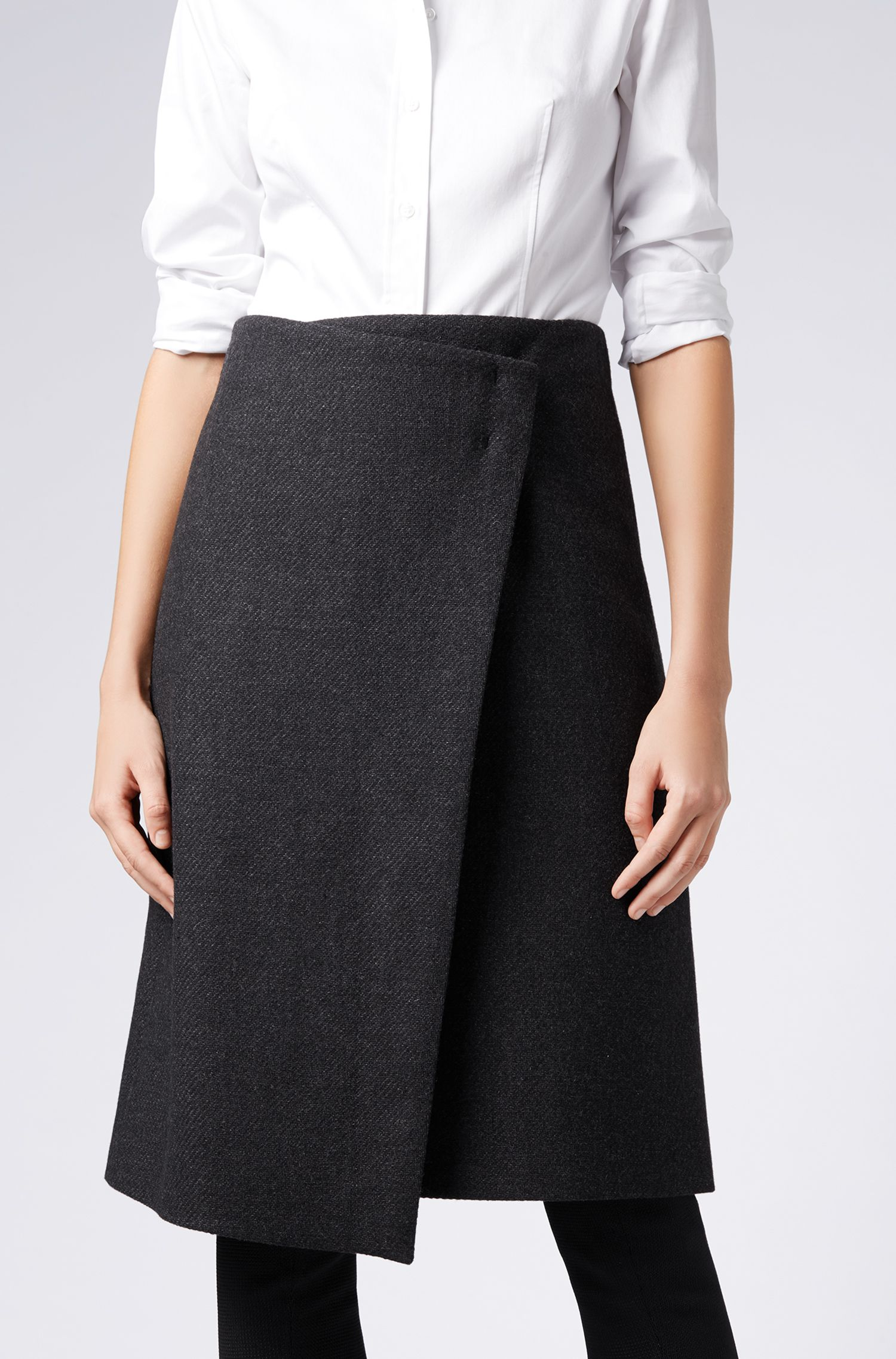 Italian wool-blend wrap skirt with bar-tack detail, Black