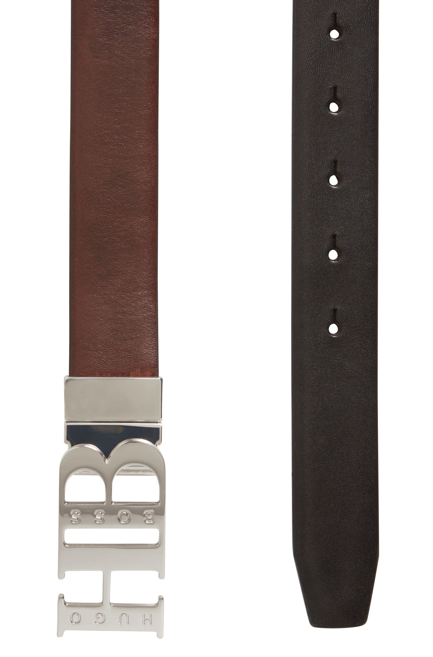 Reversible belt in smooth leather with statement silver closure, Black