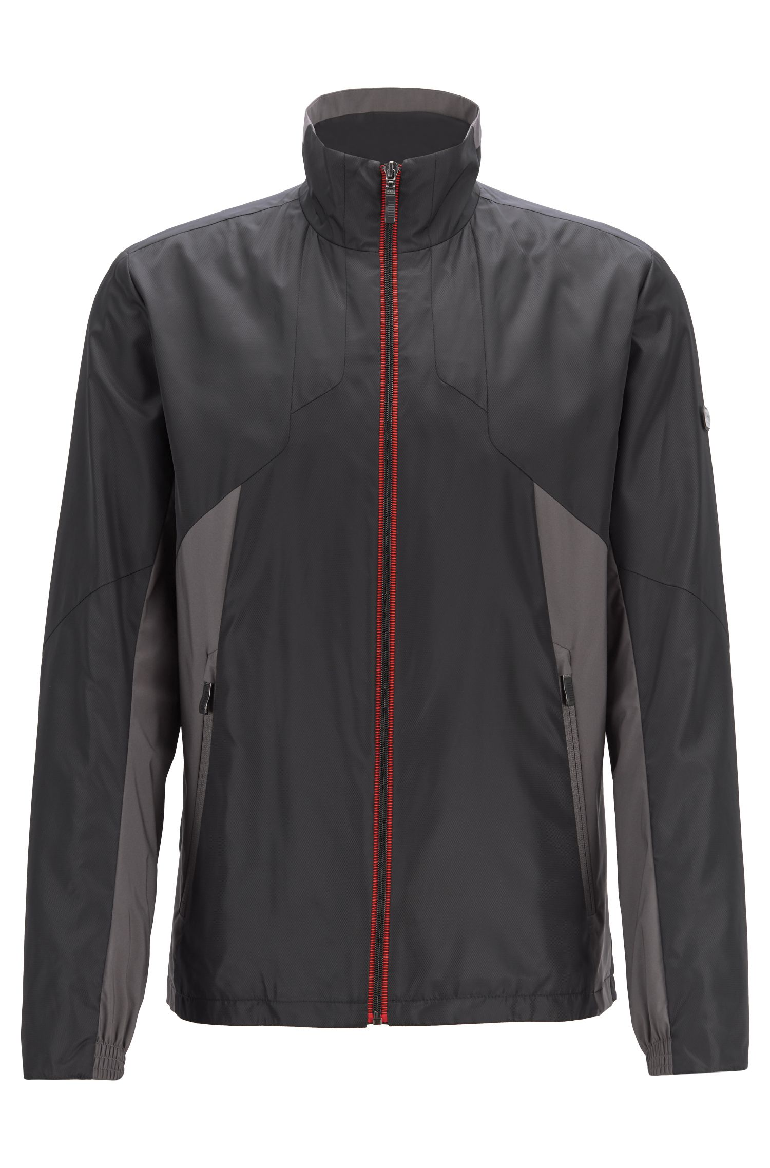 Link² water-repellent jacket in micro-structured dobby fabric, Black