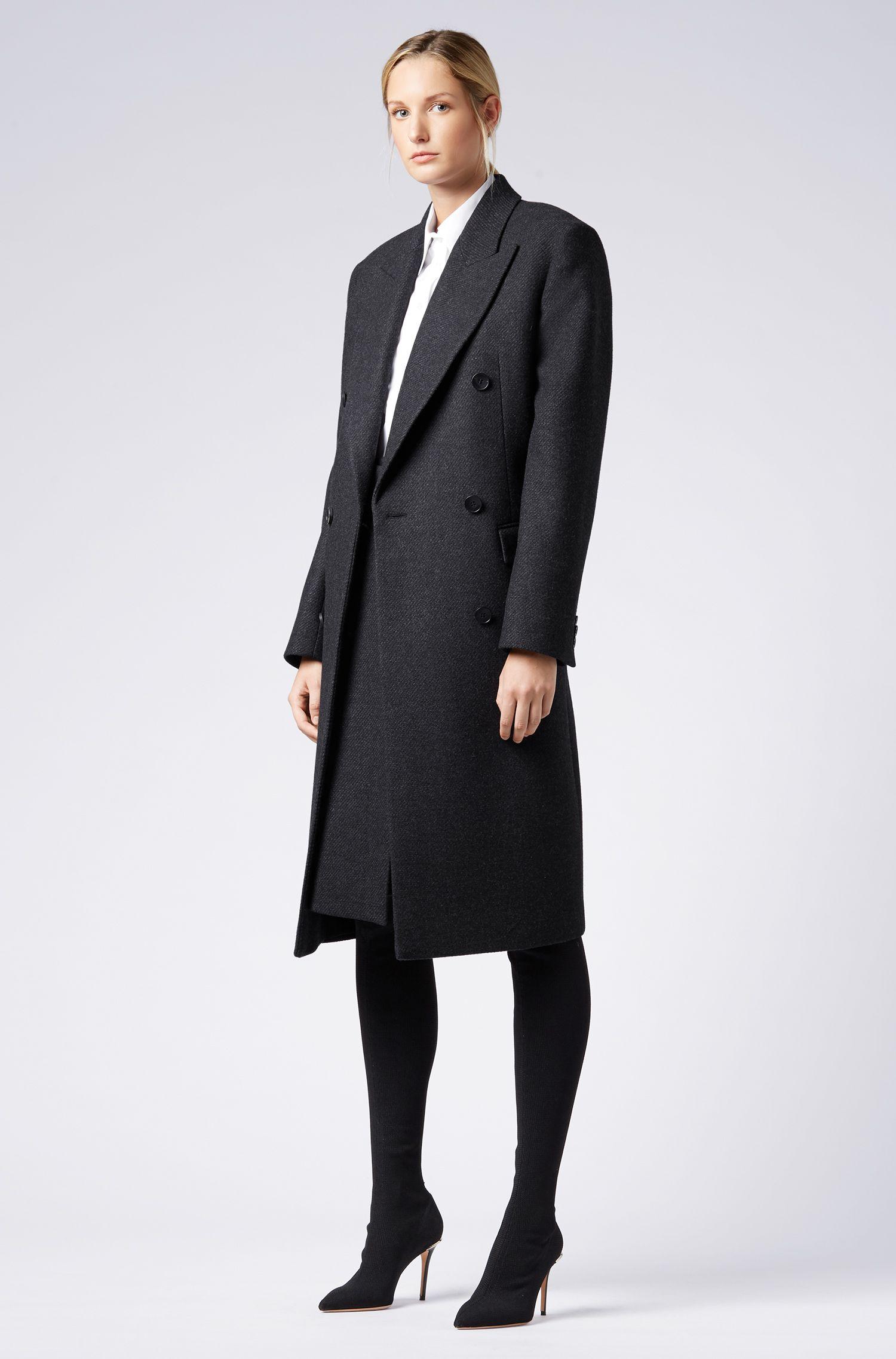 Double-breasted coat in an Italian wool blend