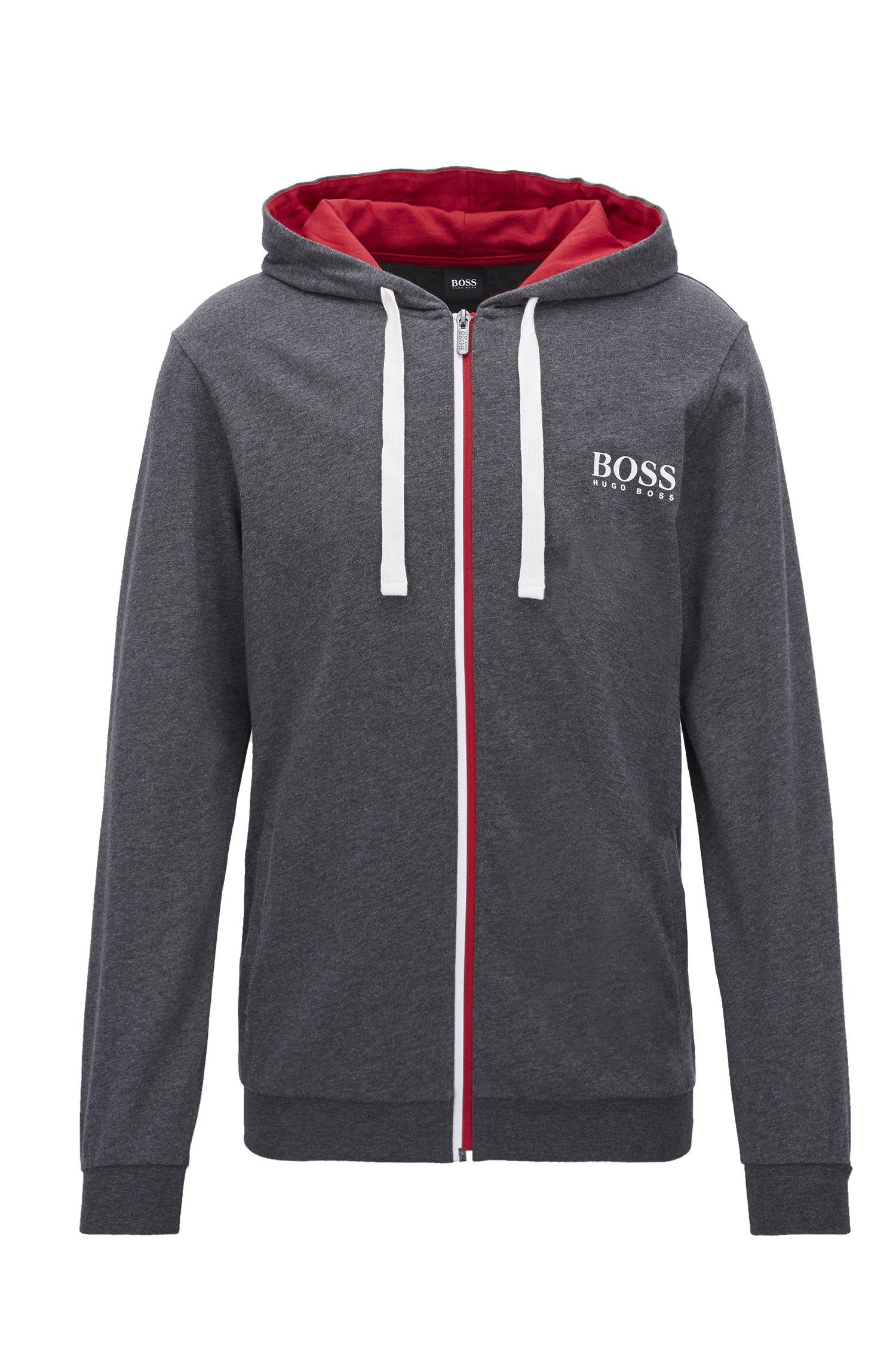 Heavy-jersey loungewear jacket with bicolored zipper, Grey