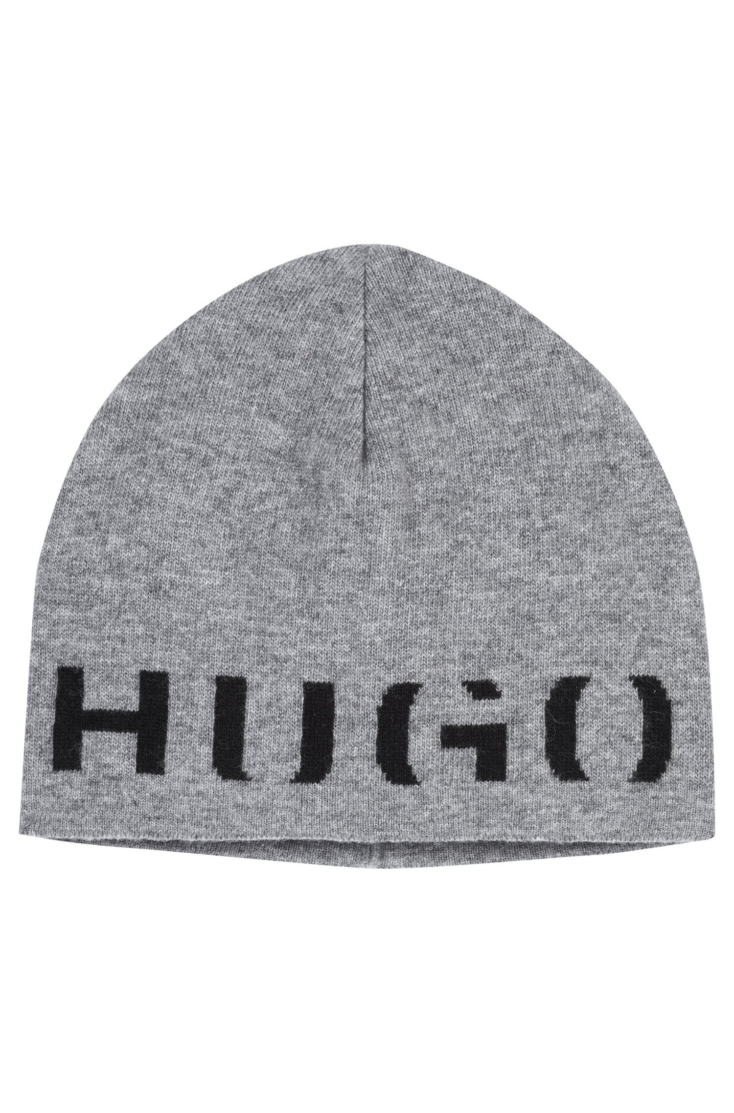 Logo beanie hat in a technical blend with cashmere, Open Grey