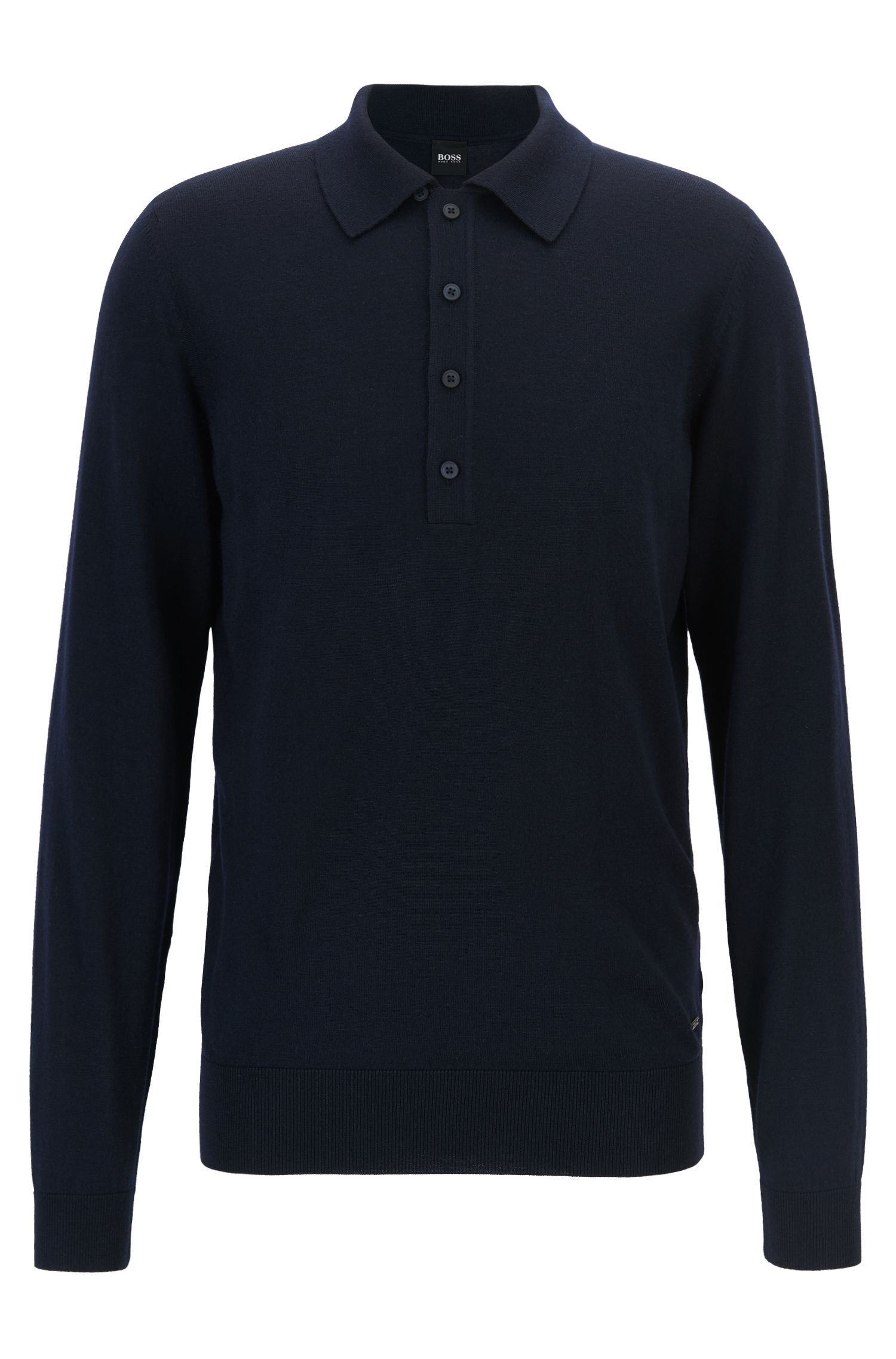 Sweater in virgin wool with polo collar