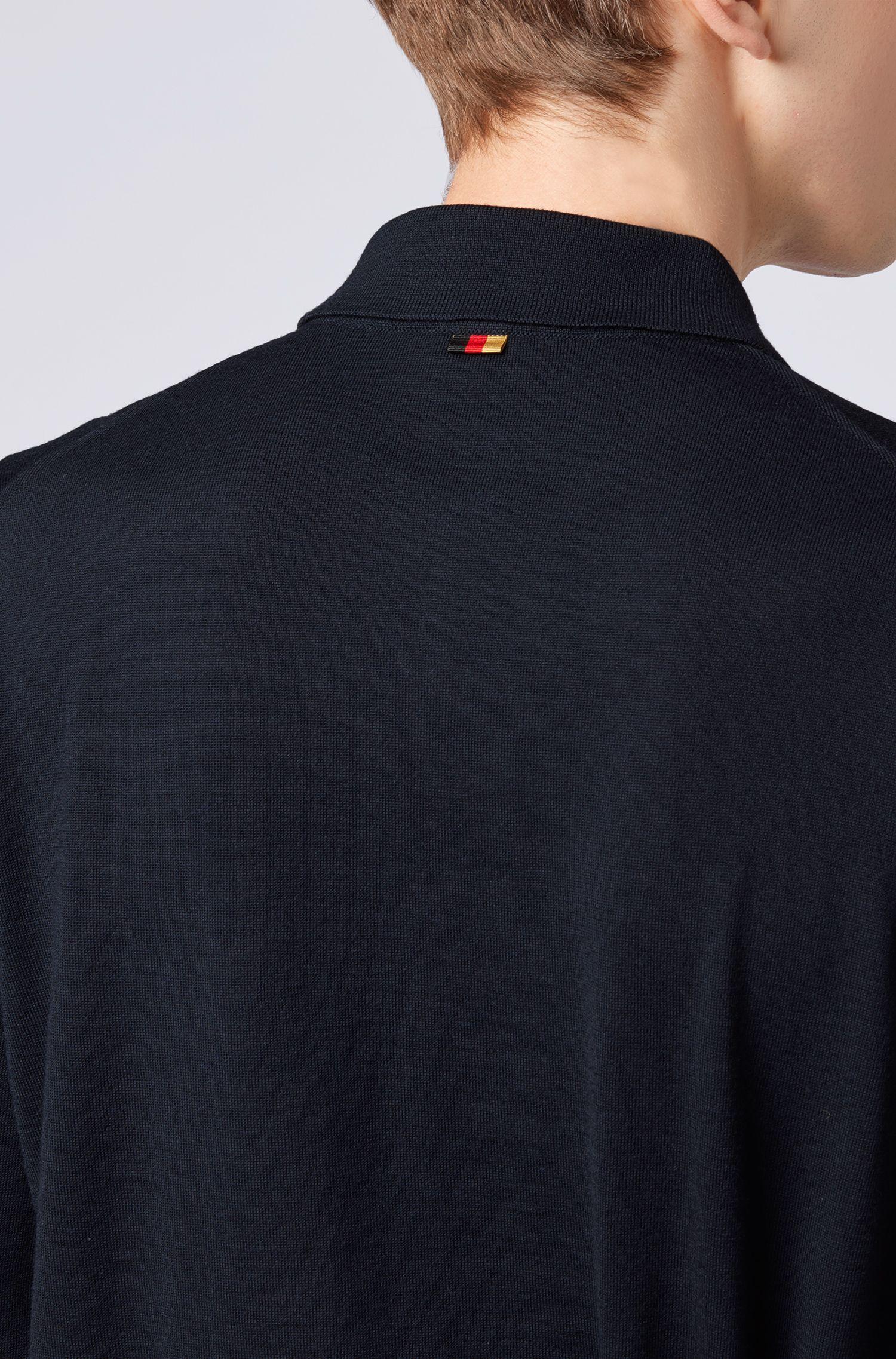 Sweater in virgin wool with polo collar, Dark Blue