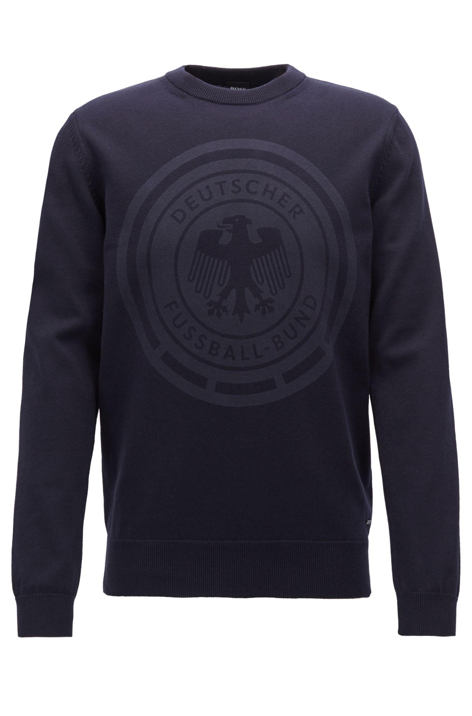 Cotton sweatshirt with logo print, Dark Blue