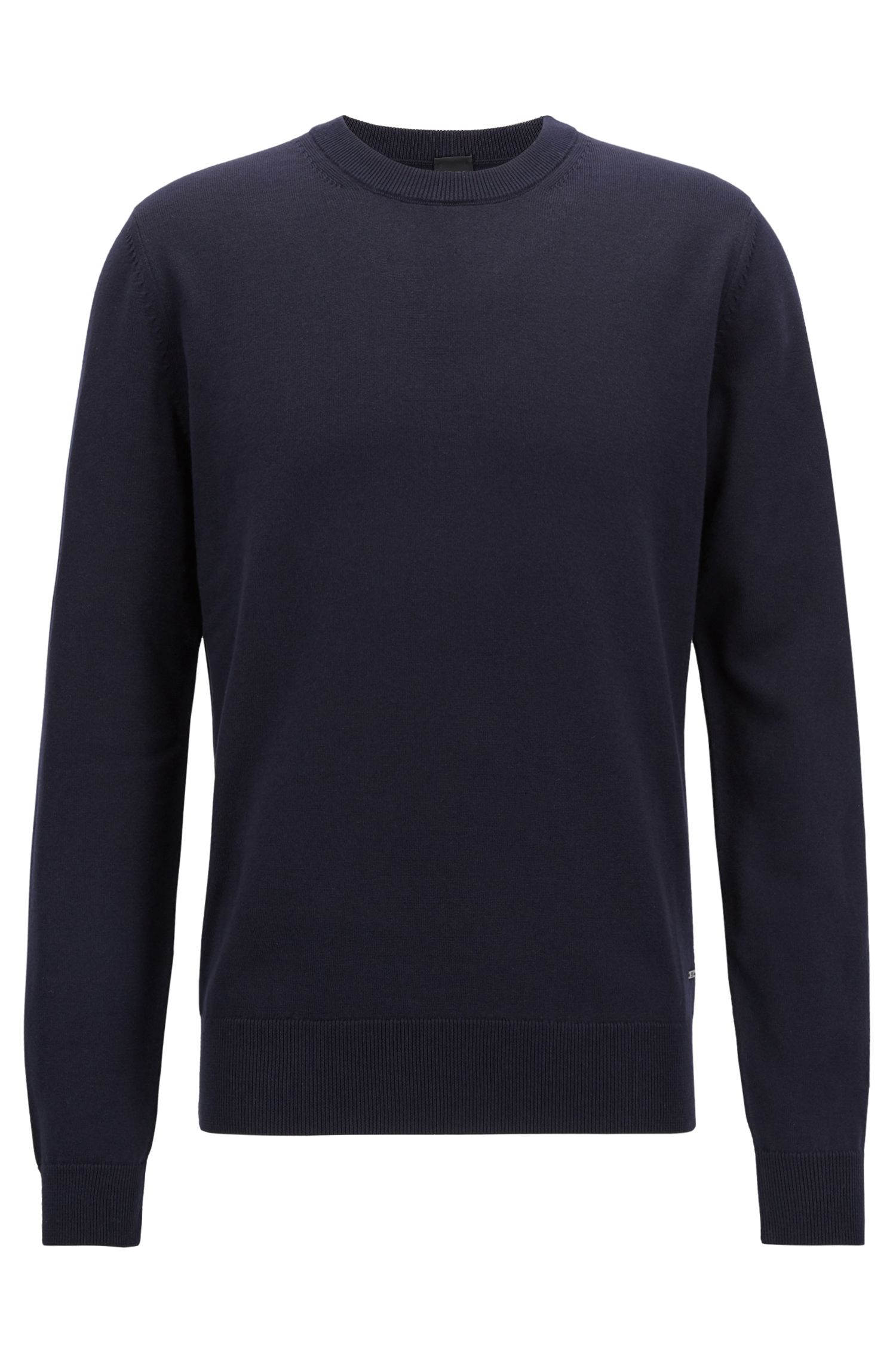 Crew-neck sweater in pure cotton, Dark Blue