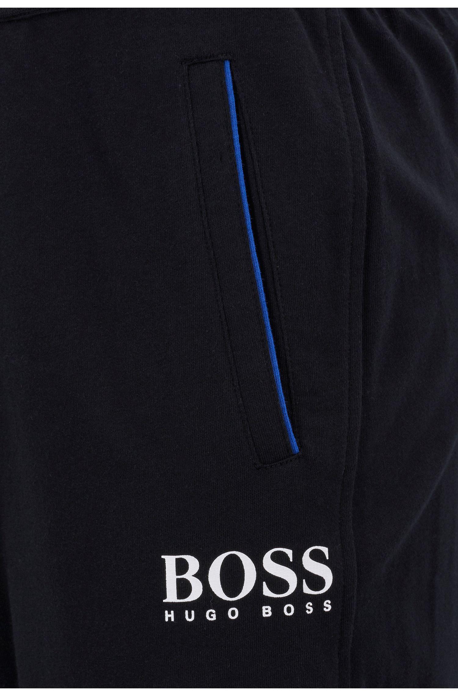 Cuffed loungewear pants in heavyweight one-way-jersey cotton, Black