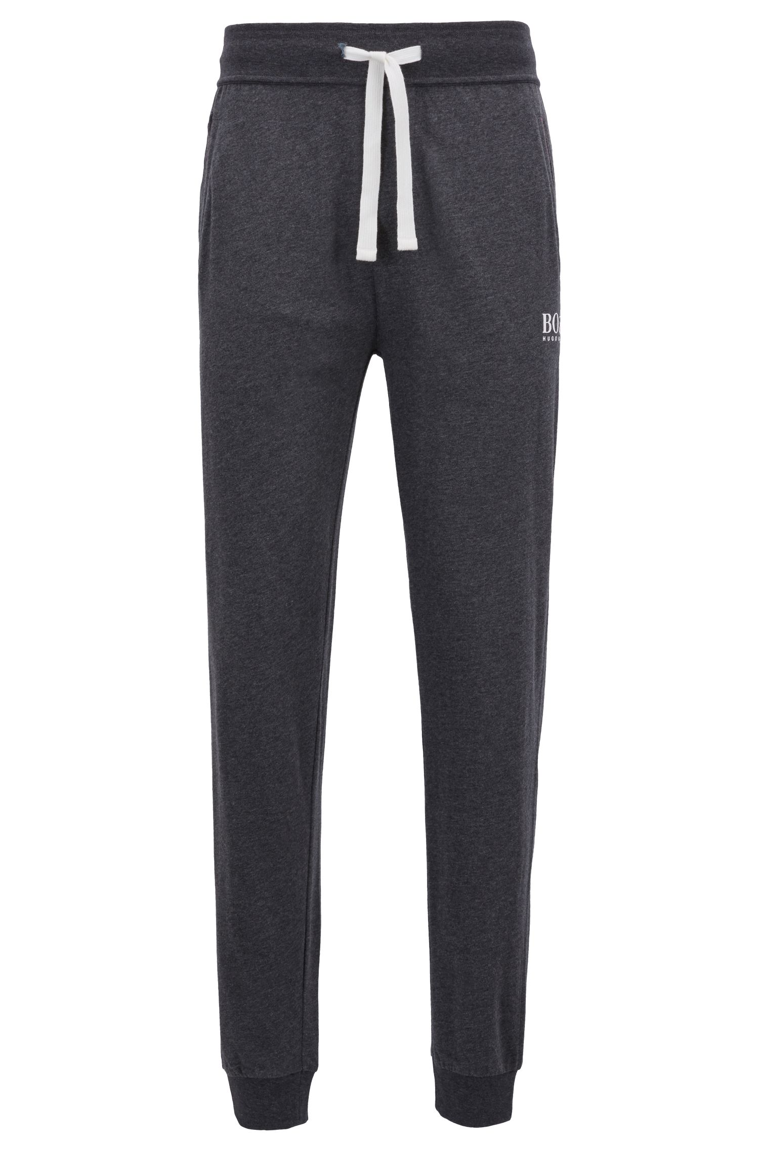 Cuffed loungewear pants in heavyweight one-way-jersey cotton, Grey