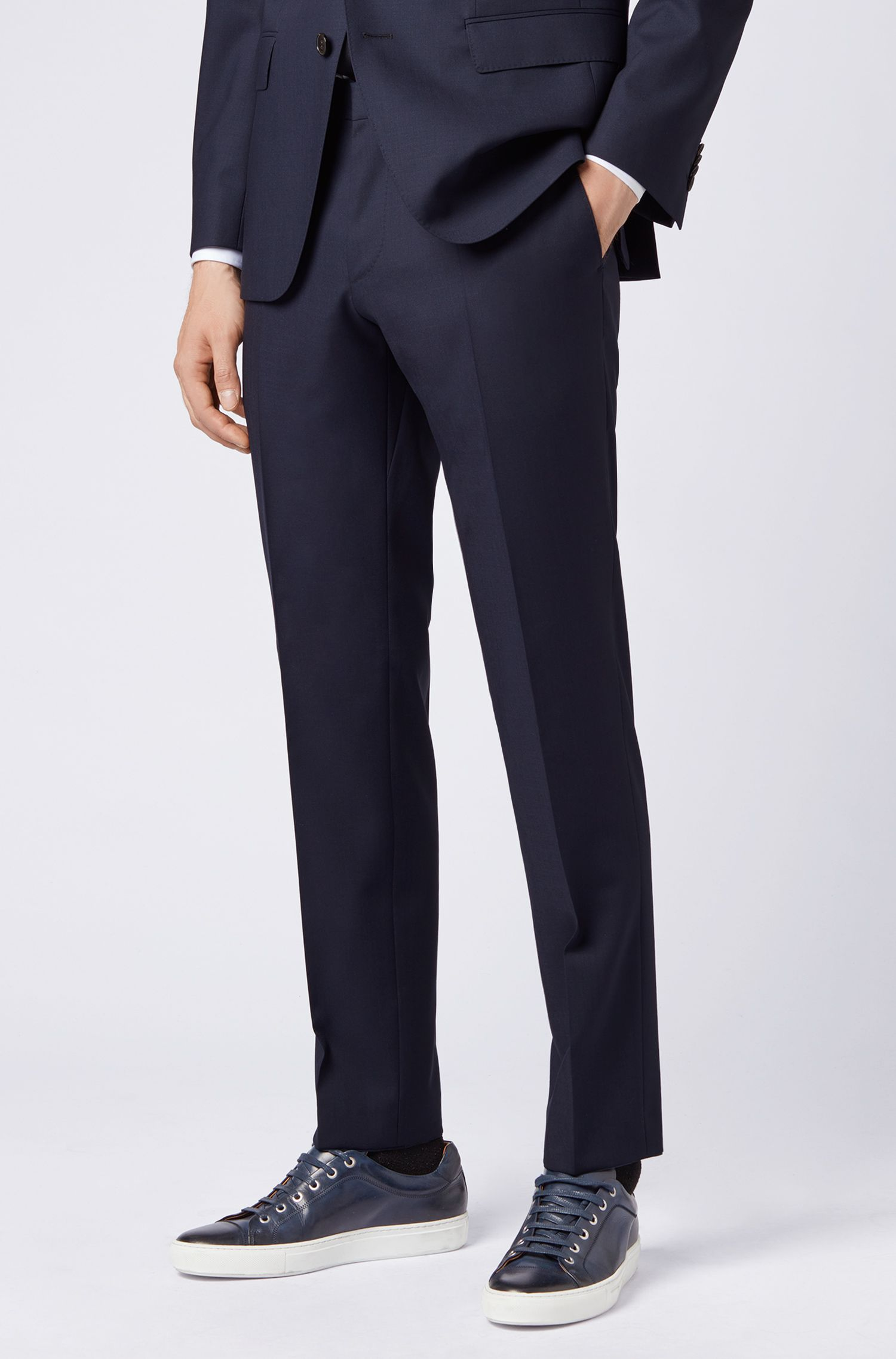 Slim-fit pants in virgin wool, Dark Blue