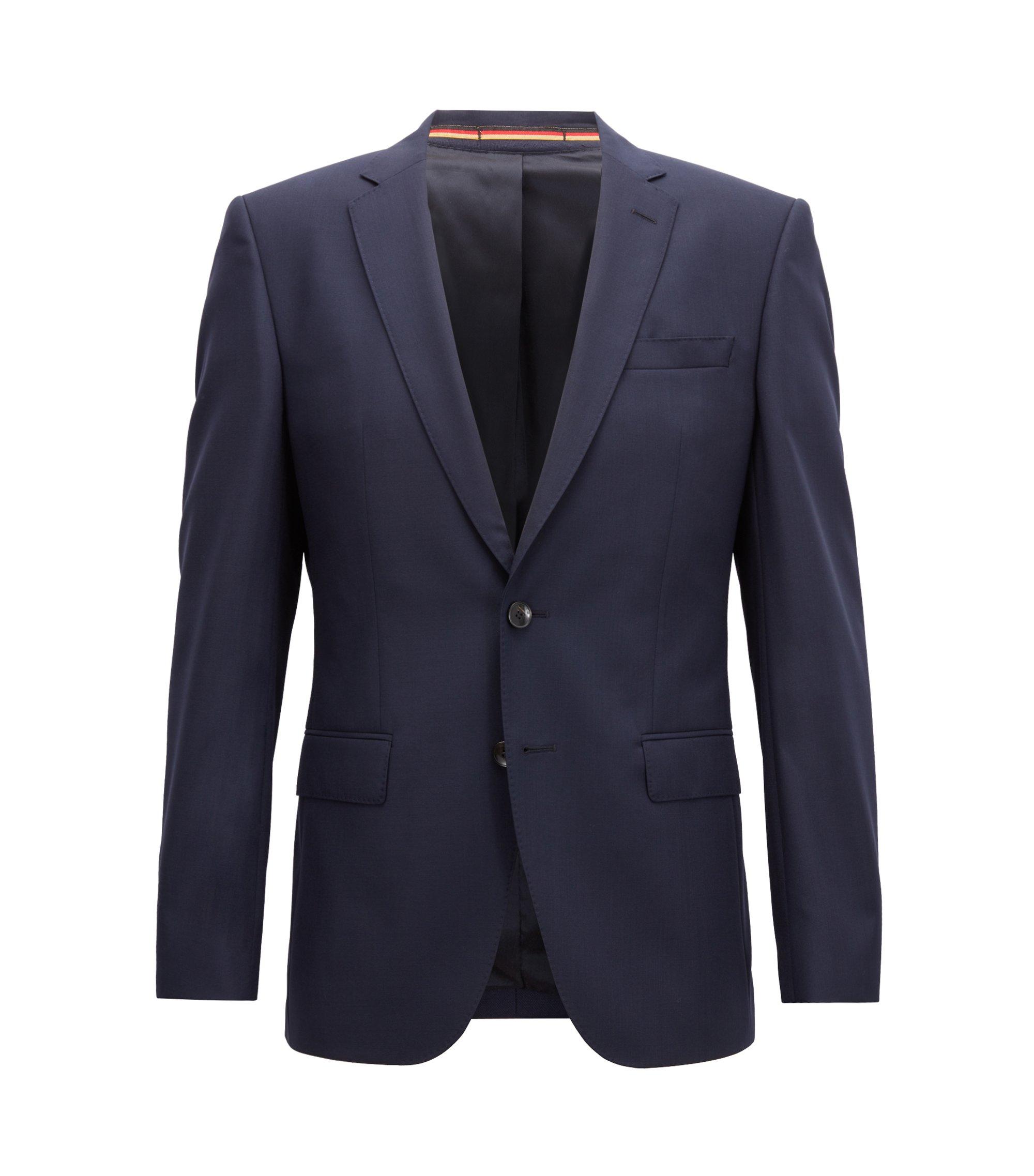 Slim-fit blazer in virgin wool, Dark Blue
