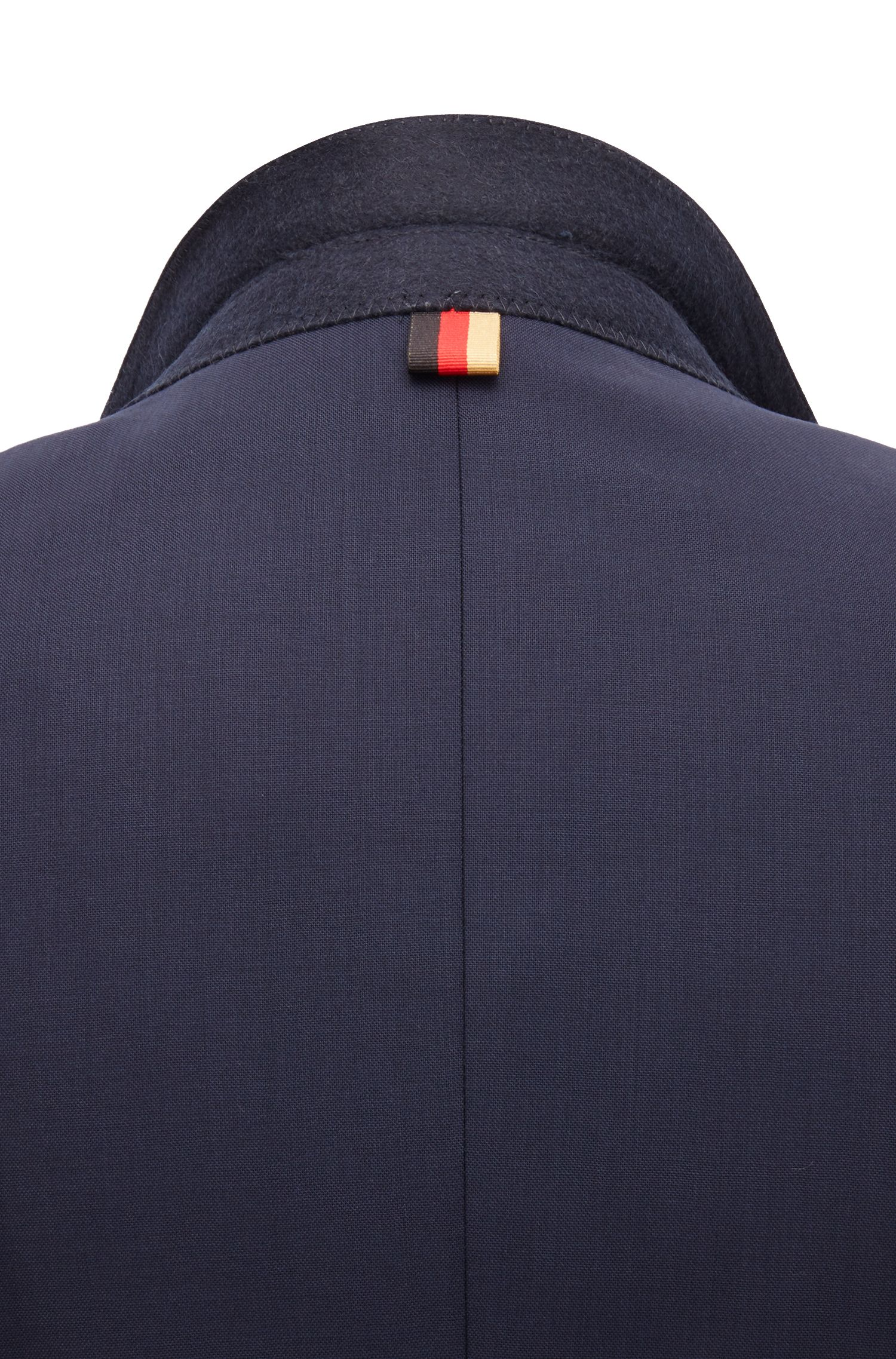 Slim-fit blazer in virgin wool, Dark Blue