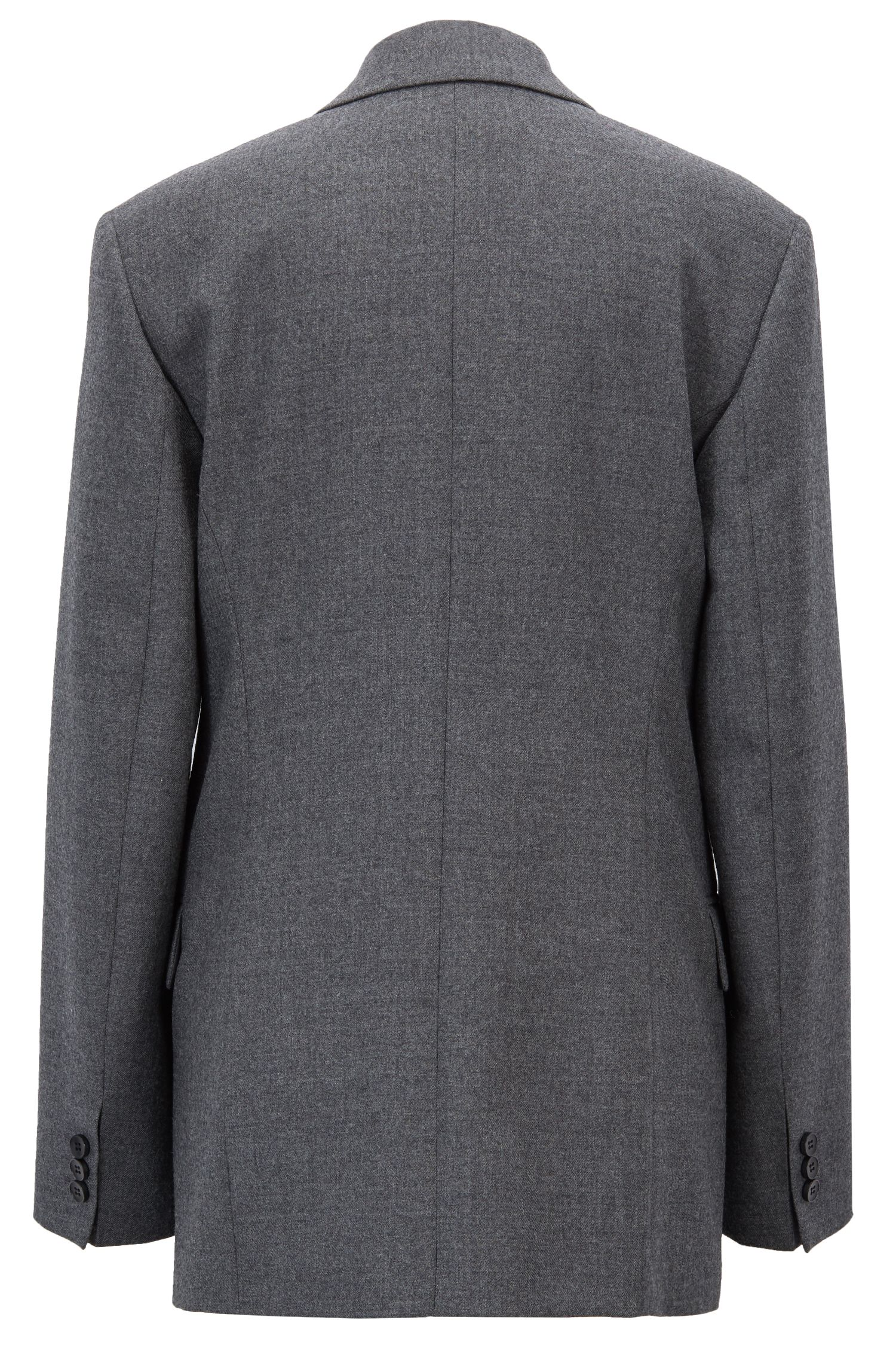 Oversized-fit double-breasted blazer in virgin-wool twill, Charcoal
