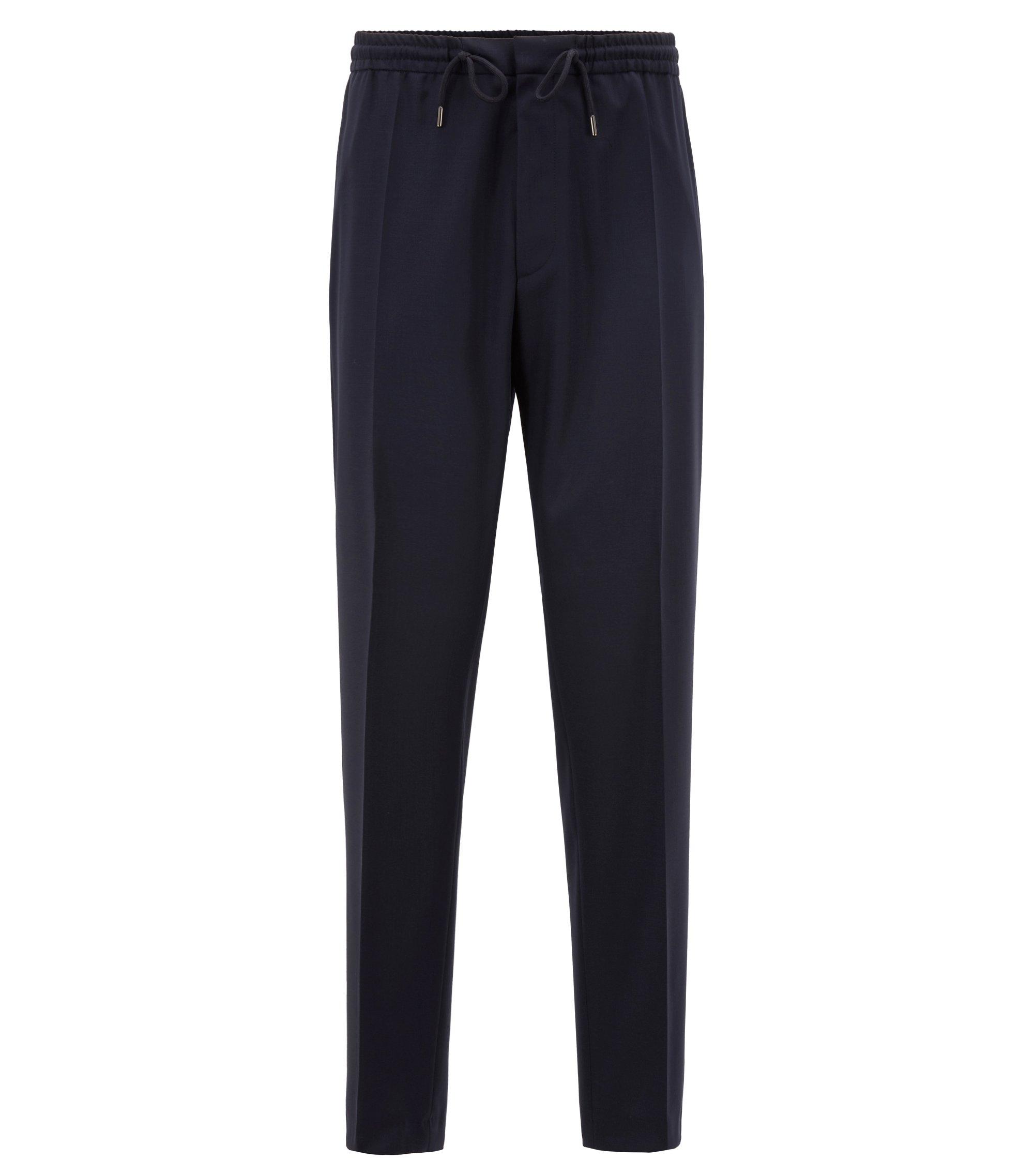 Slim-fit casual pants in virgin wool, Dark Blue