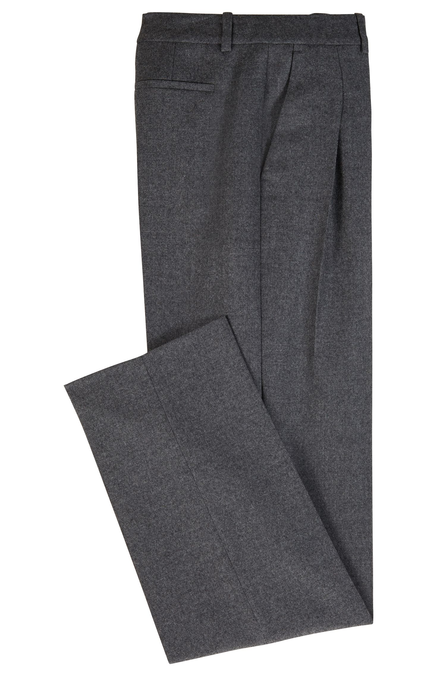 Extra-long wide-leg pants with pleated front, Charcoal
