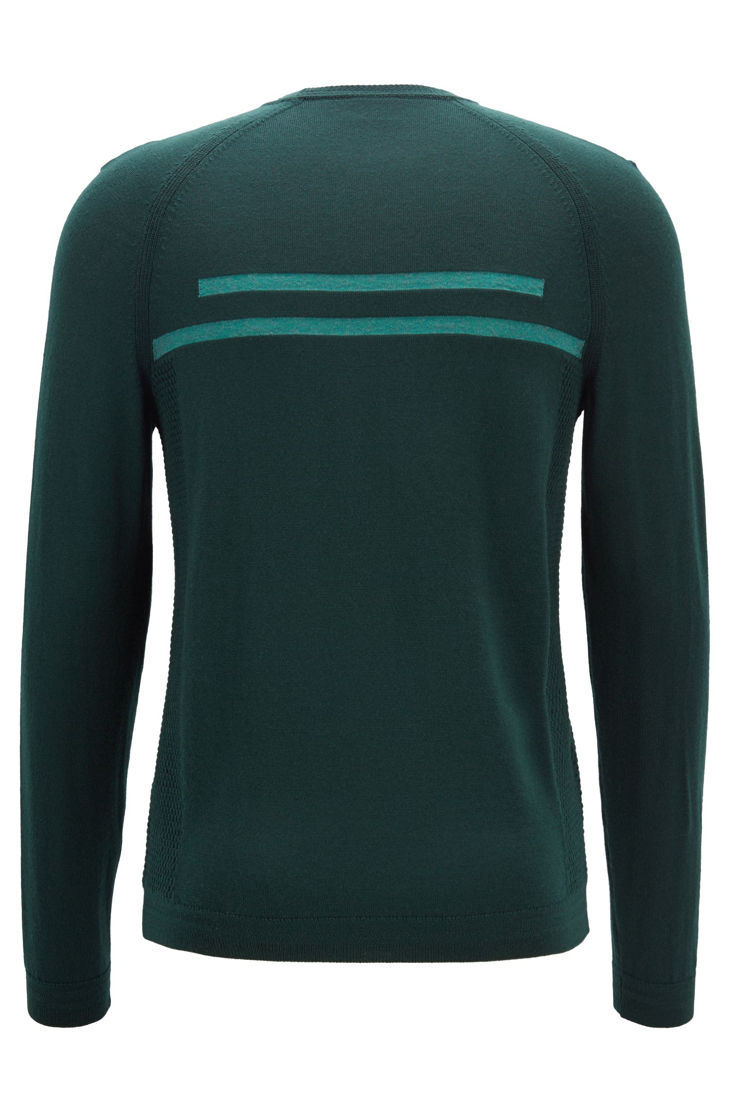 Crew-neck sweater in merino wool with knitted panels, Open Green