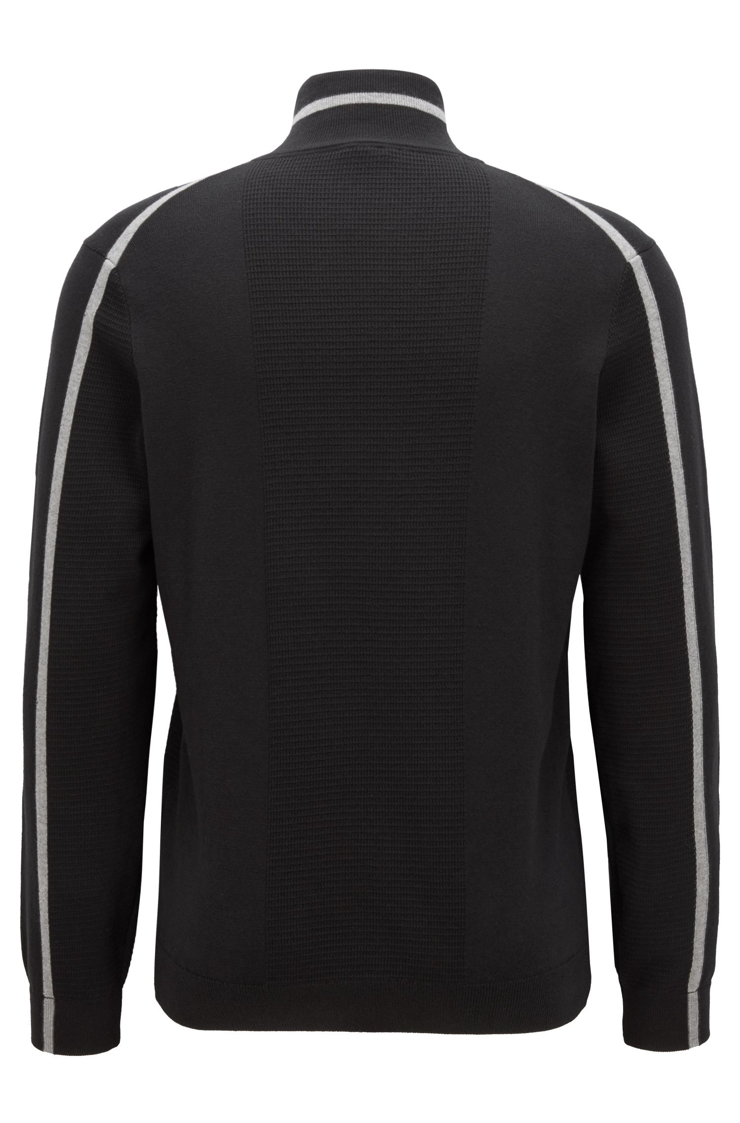 Zipper-neck sweater in an organic-cotton blend, Black