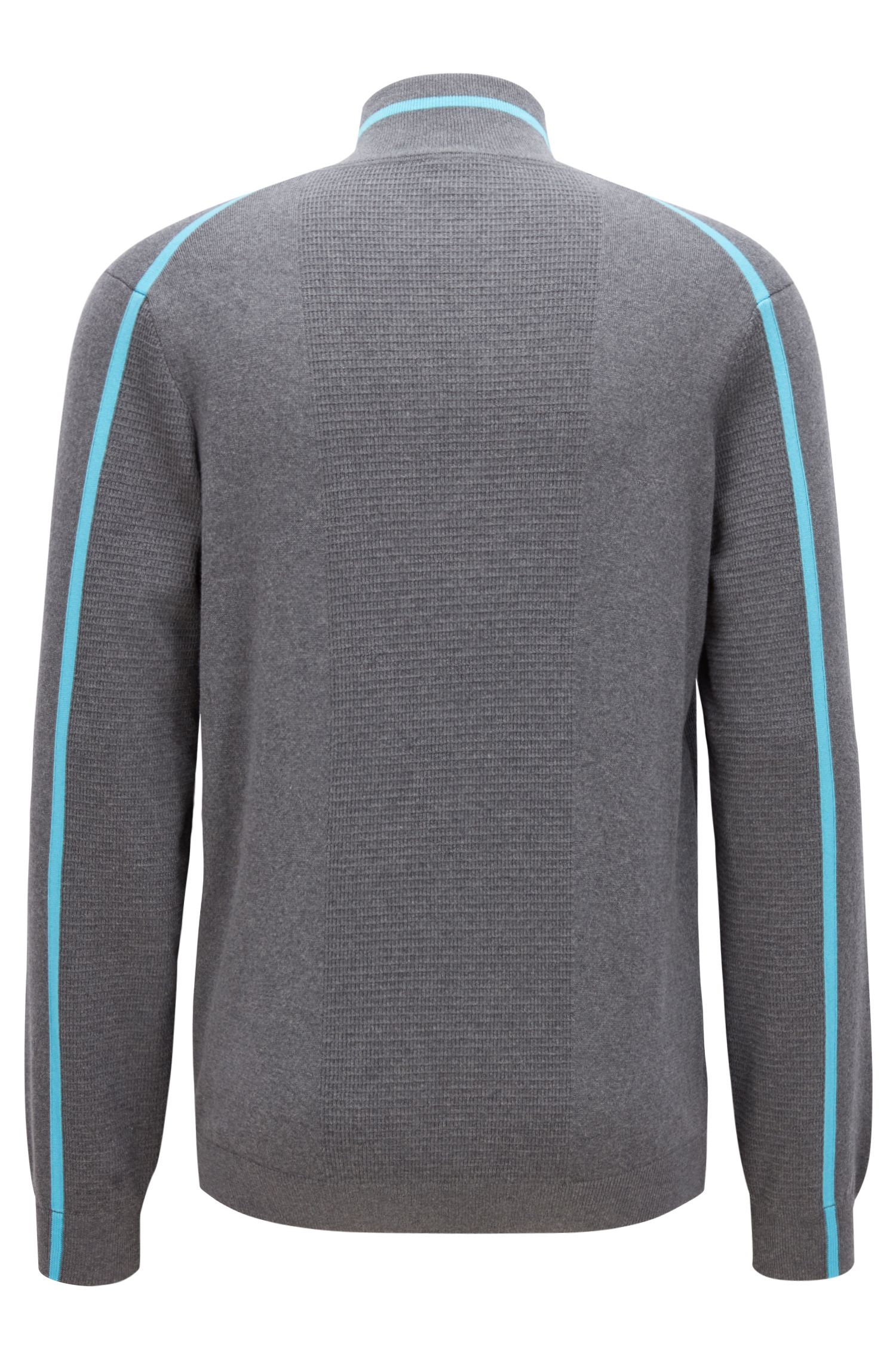 Zipper-neck sweater in an organic-cotton blend, Grey