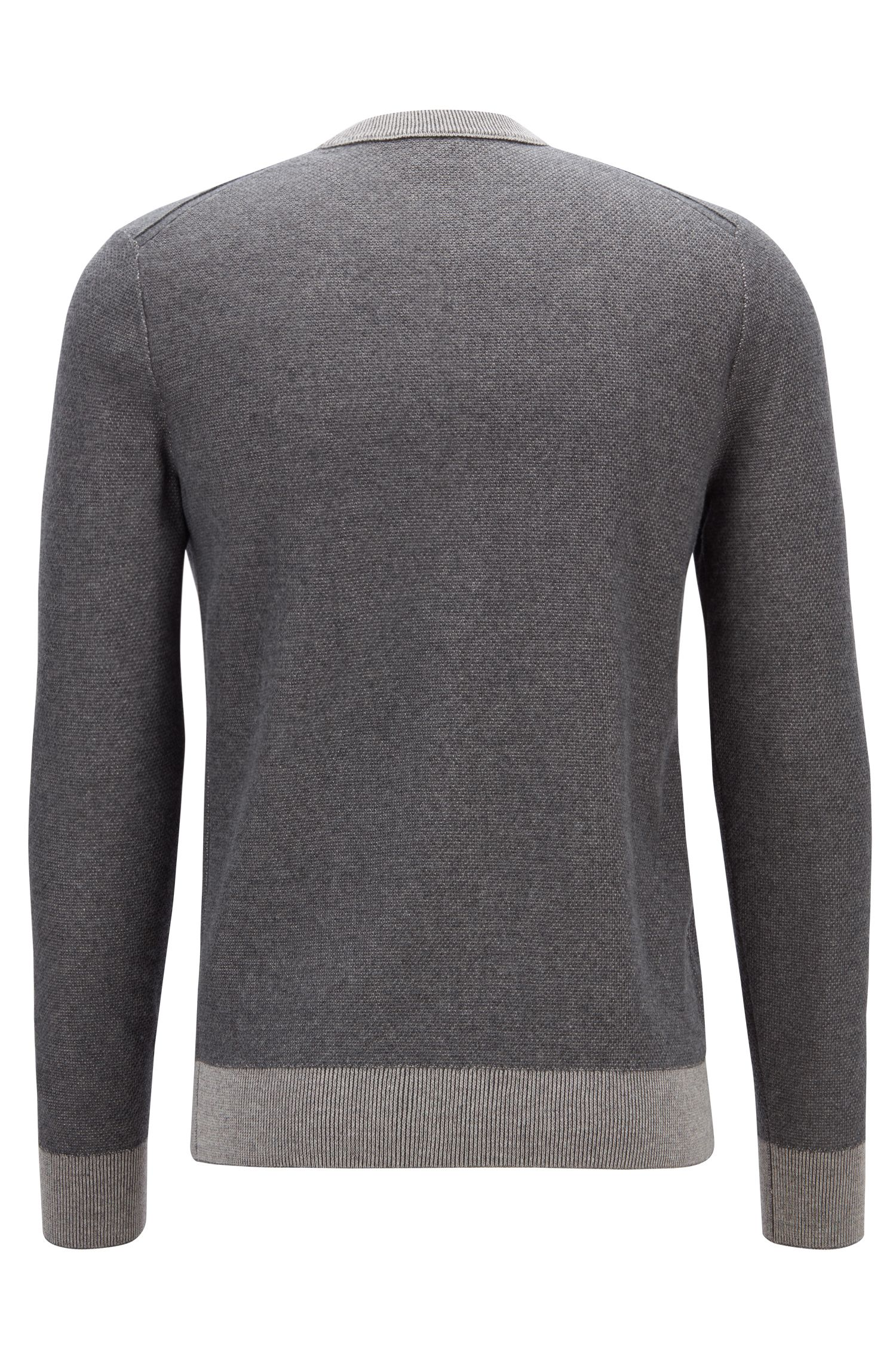 Lightweight cotton-blend sweater in two-tone micro structure, Grey
