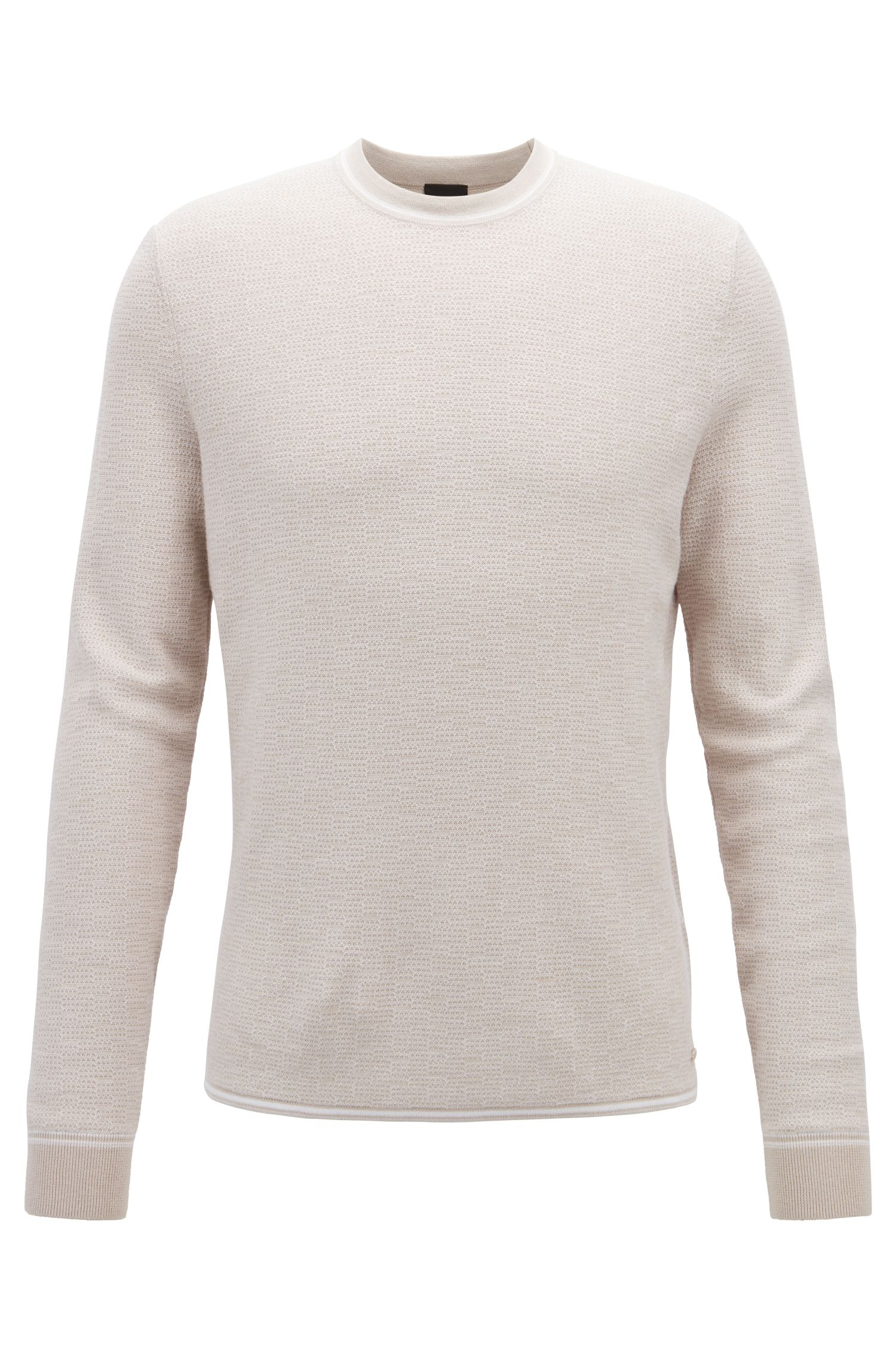 Crew-neck sweater in a micro-structured cotton blend, Open Grey