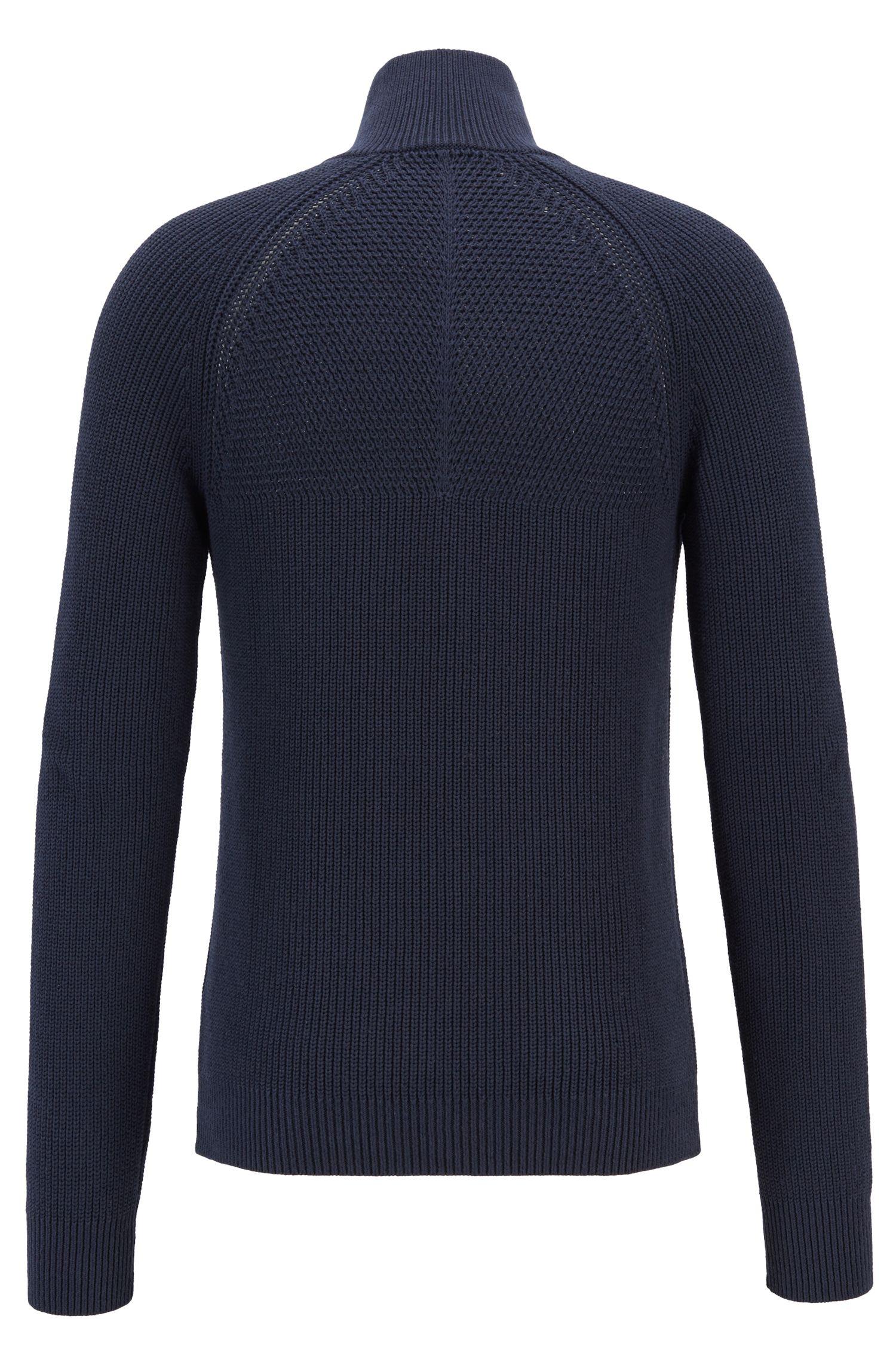 Zipper-neck sweater in half-cardigan rib stitch cotton, Dark Blue