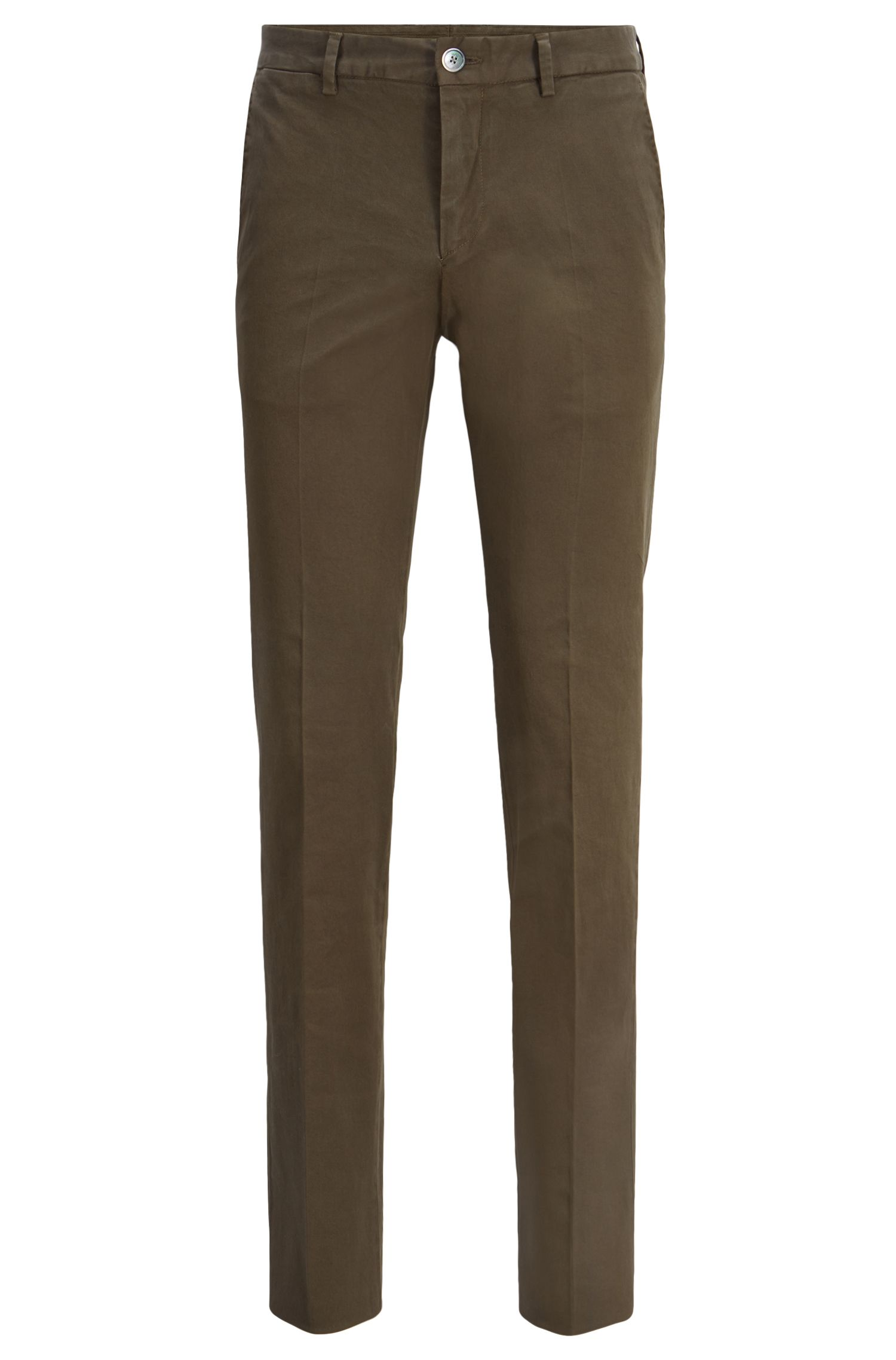 Slim-fit pants in overdyed stretch cotton, Open Green