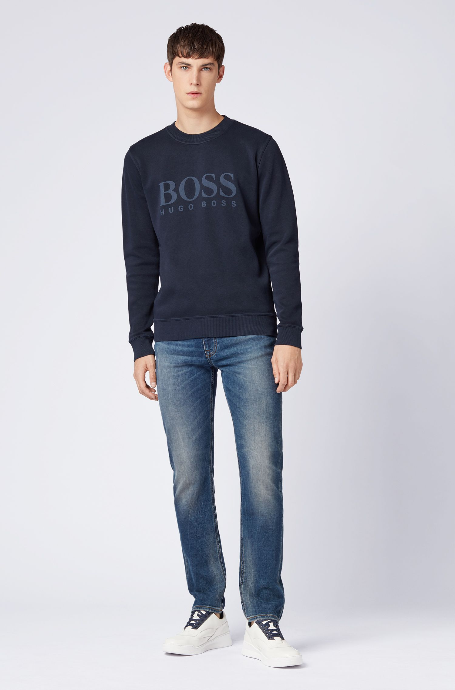 Relaxed-fit French-rib sweatshirt with transparent logo, Dark Blue
