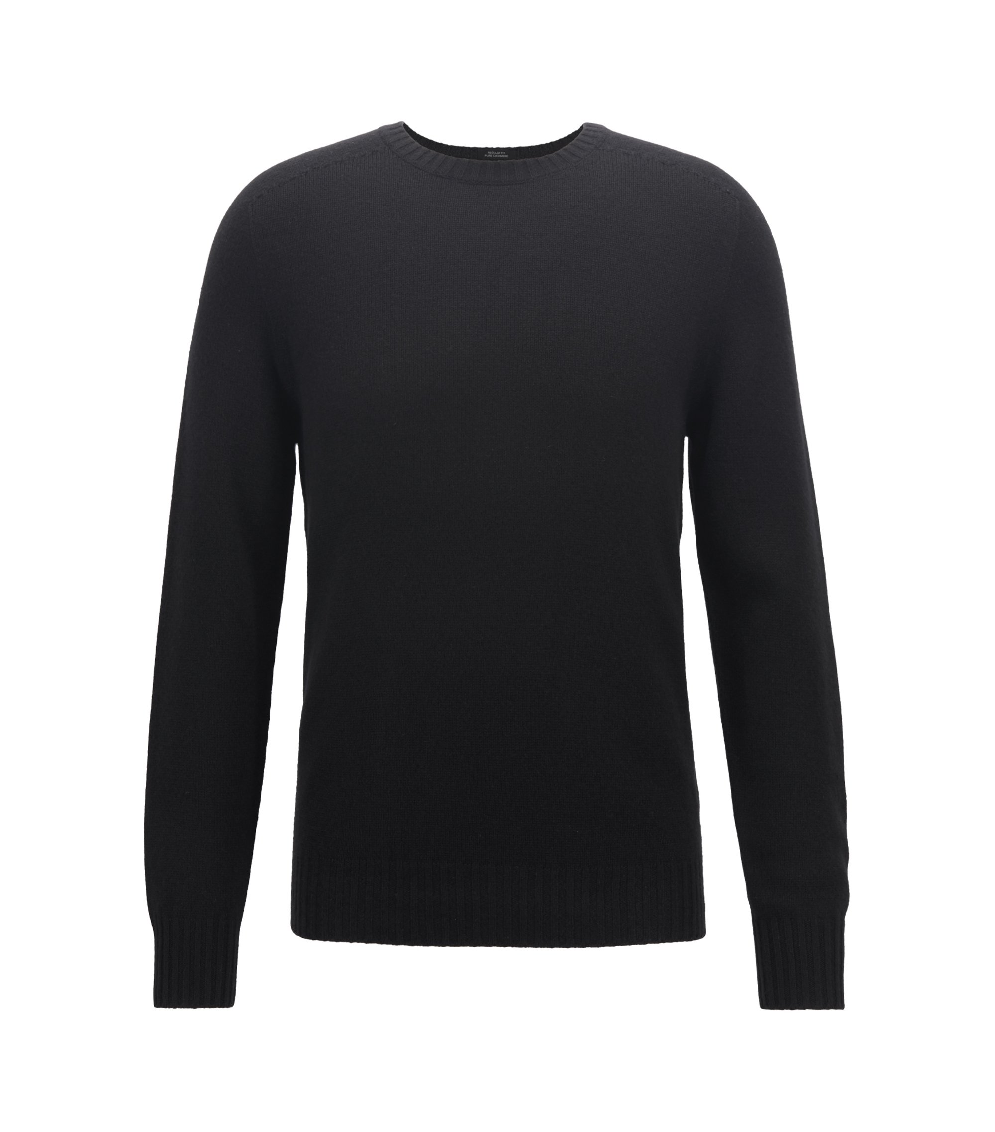 Cashmere sweater with seam-free design, Black