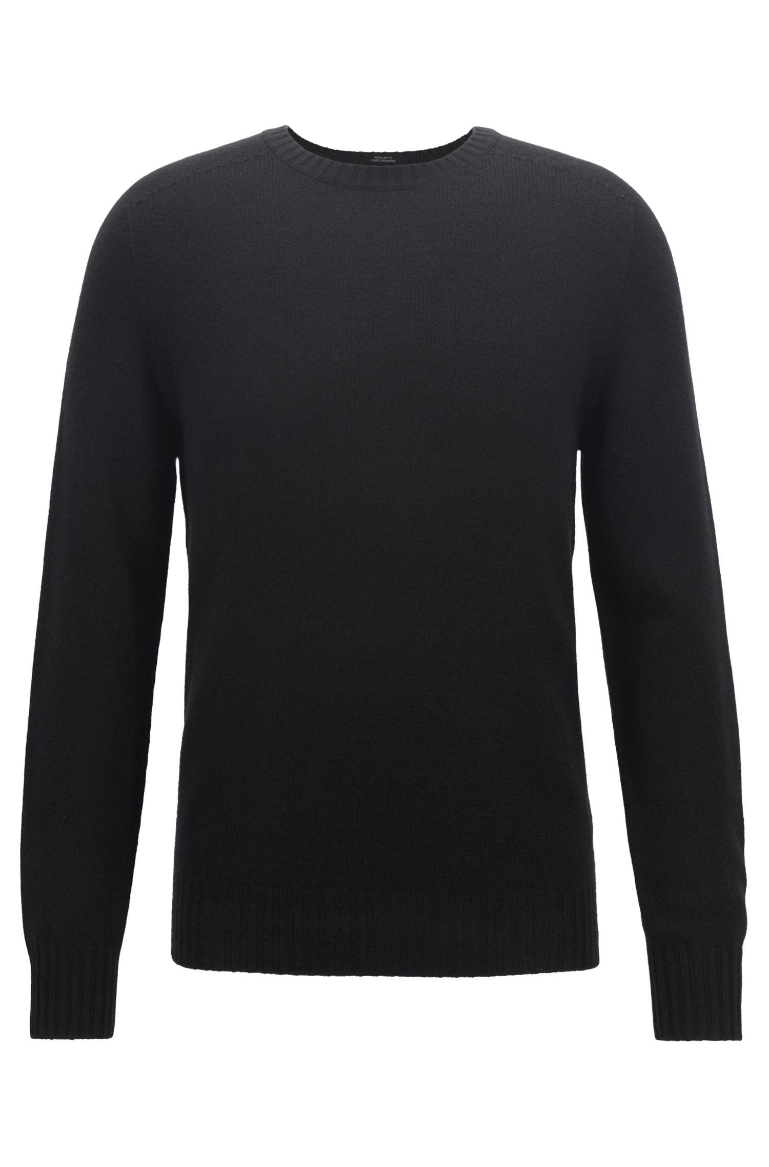Cashmere sweater with seam-free design, Black