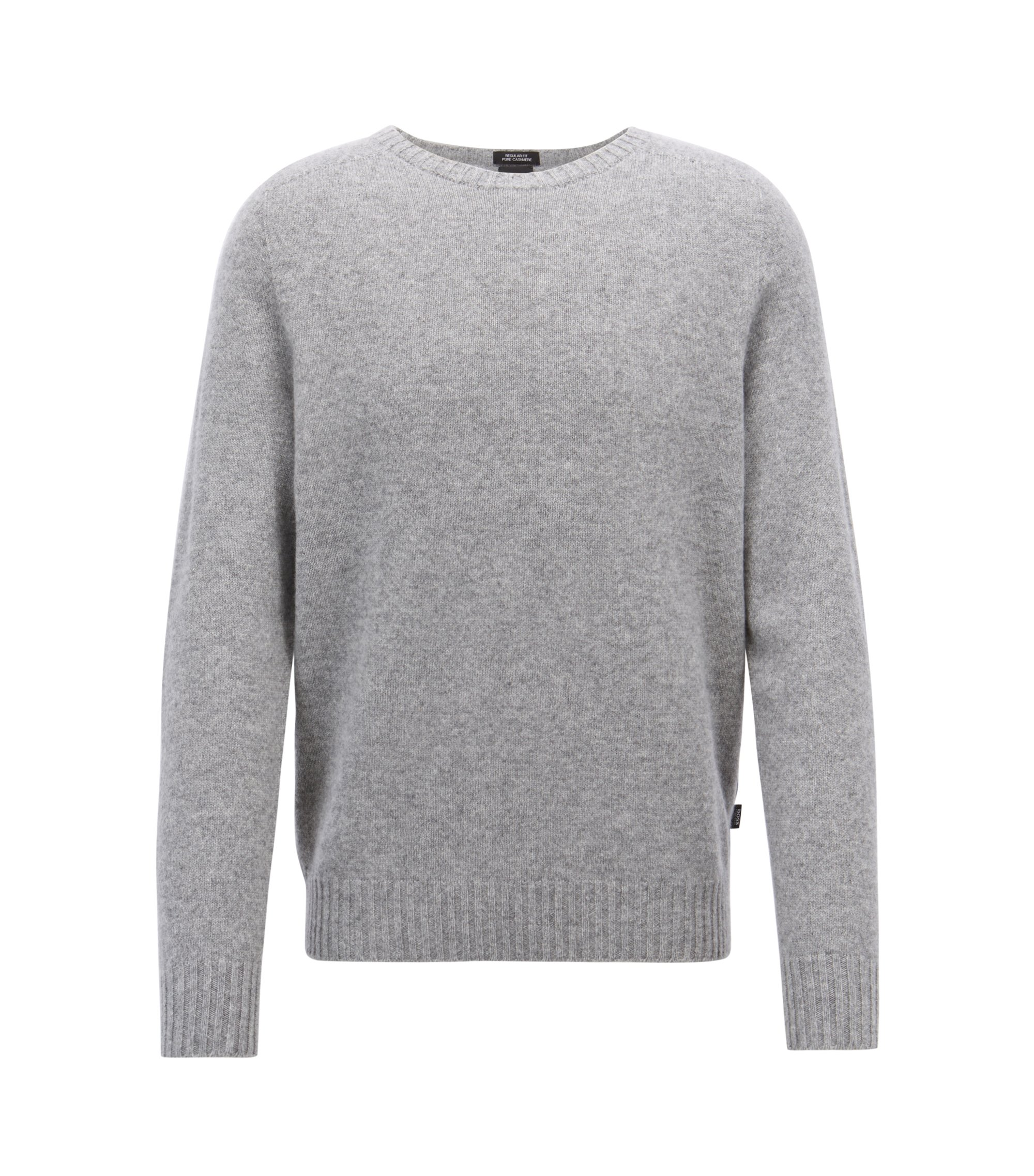 Cashmere sweater with seam-free design, Silver