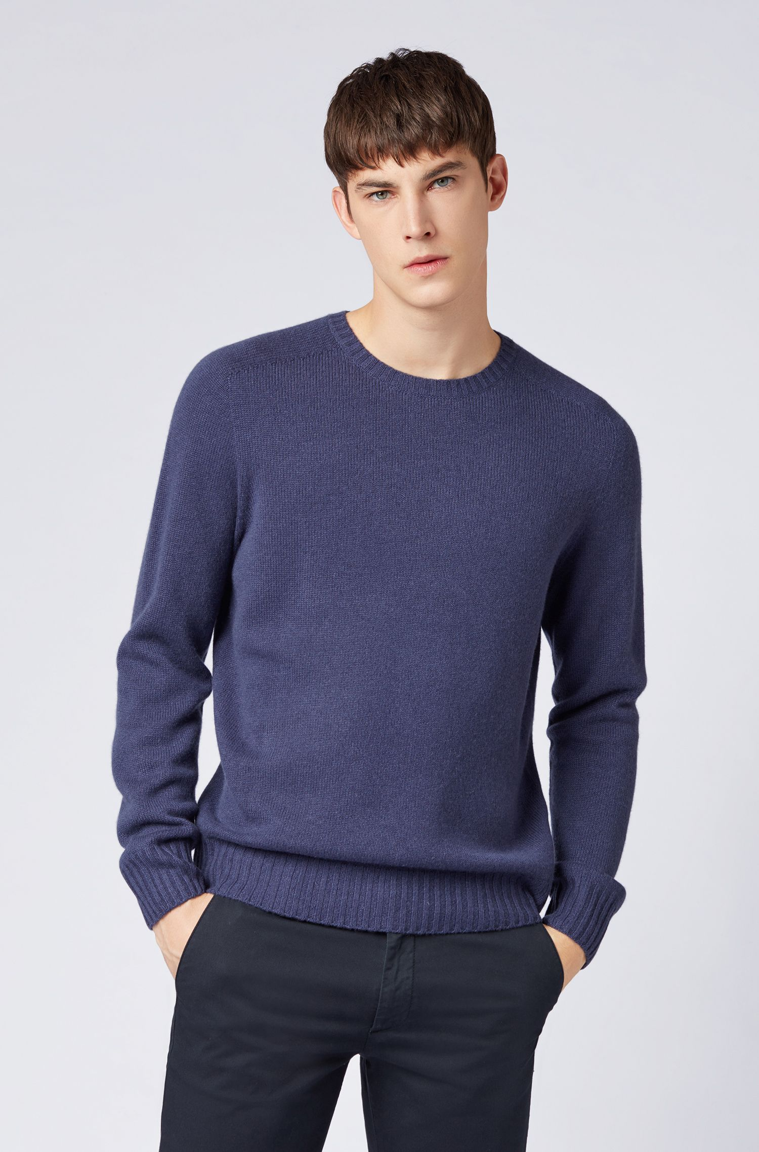Cashmere sweater with seam-free design, Open Blue