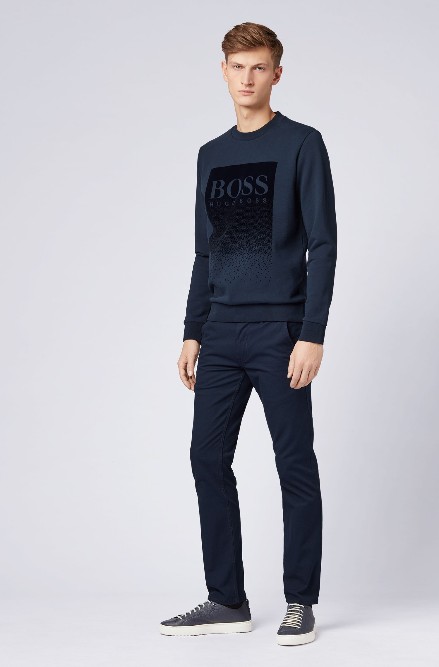 French-terry sweatshirt with flocked logo print, Dark Blue