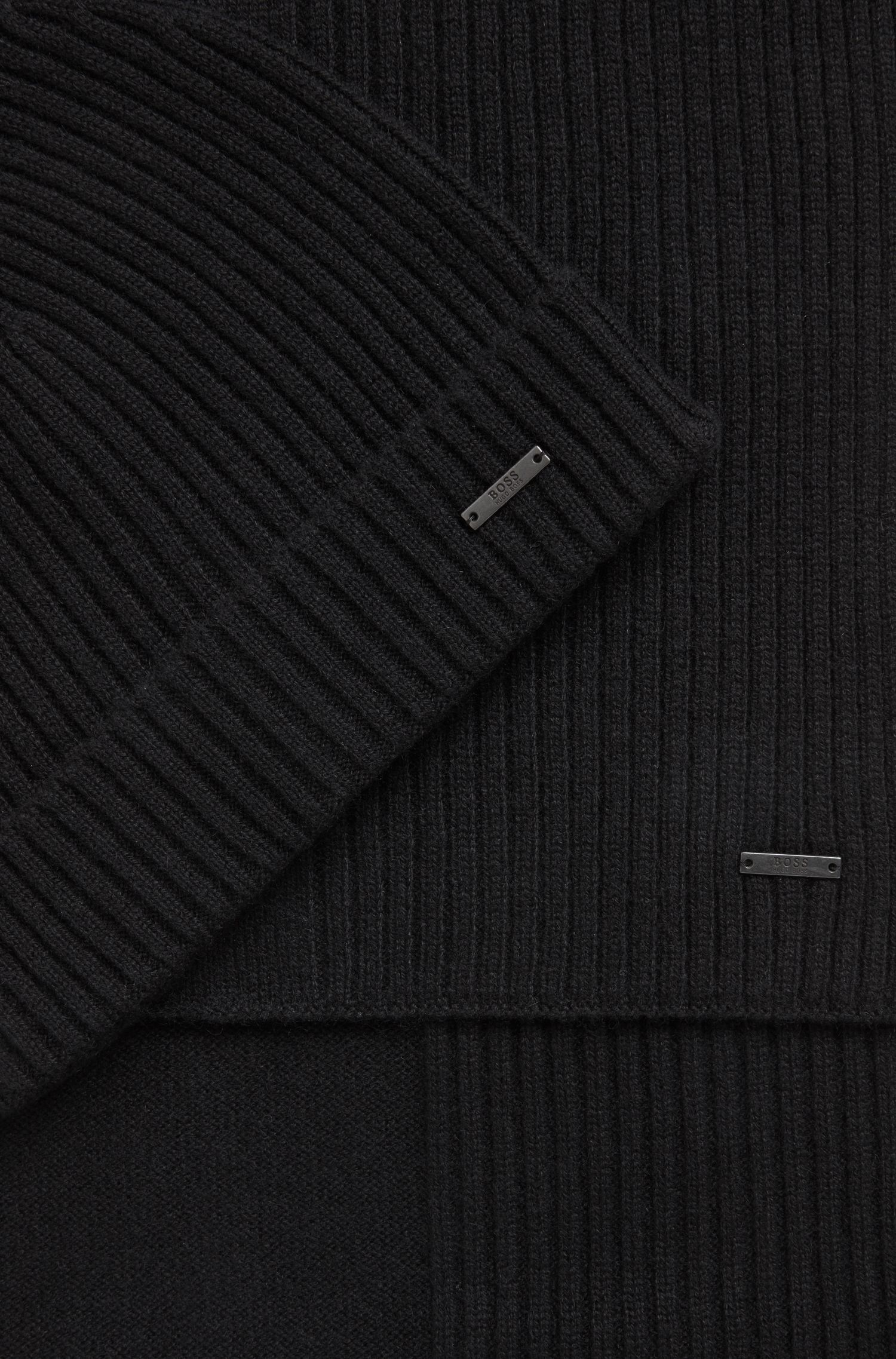 Ribbed beanie and scarf set in pure cashmere, Black