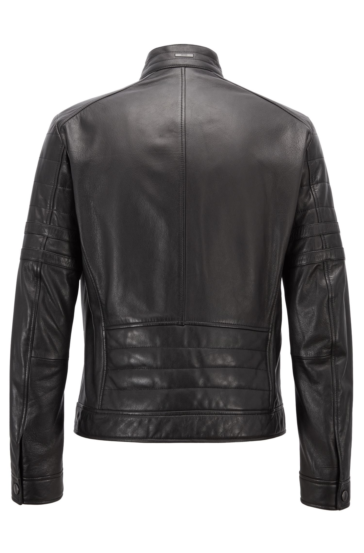 Regular-fit biker jacket in grained leather, Black