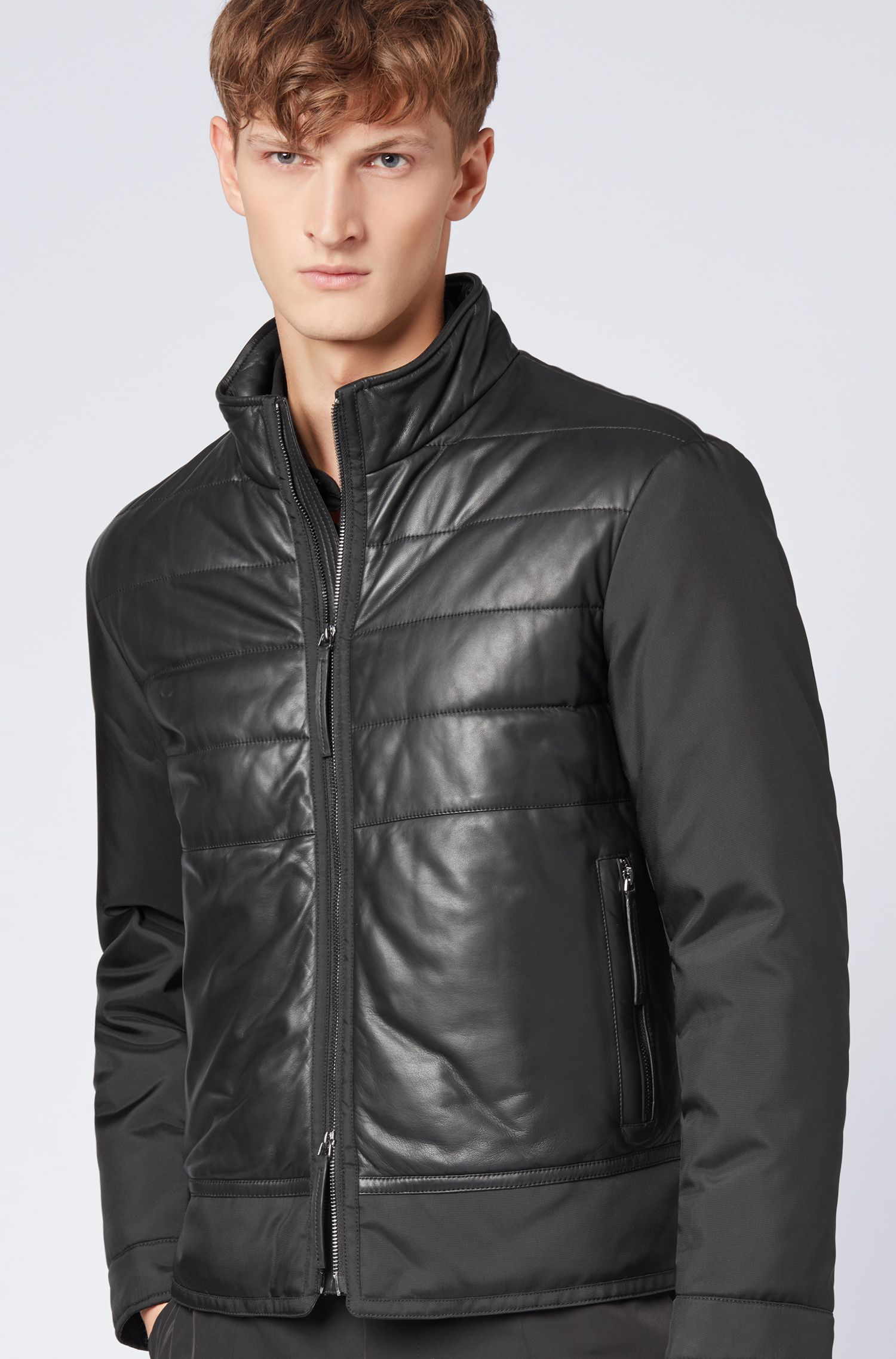 Padded blouson jacket in leather and technical canvas, Black