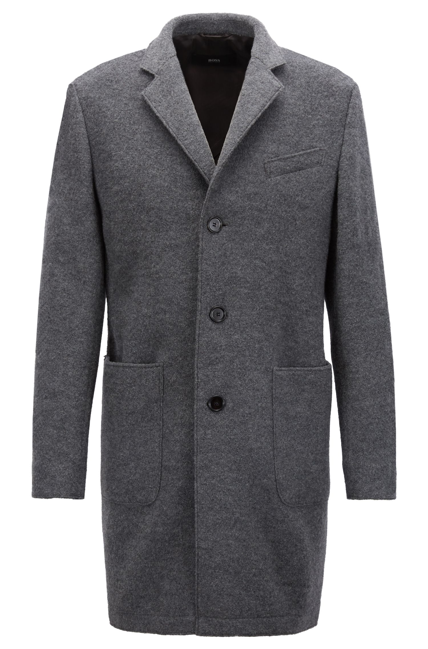 Slim-fit coat in wool with notch lapels, Grey