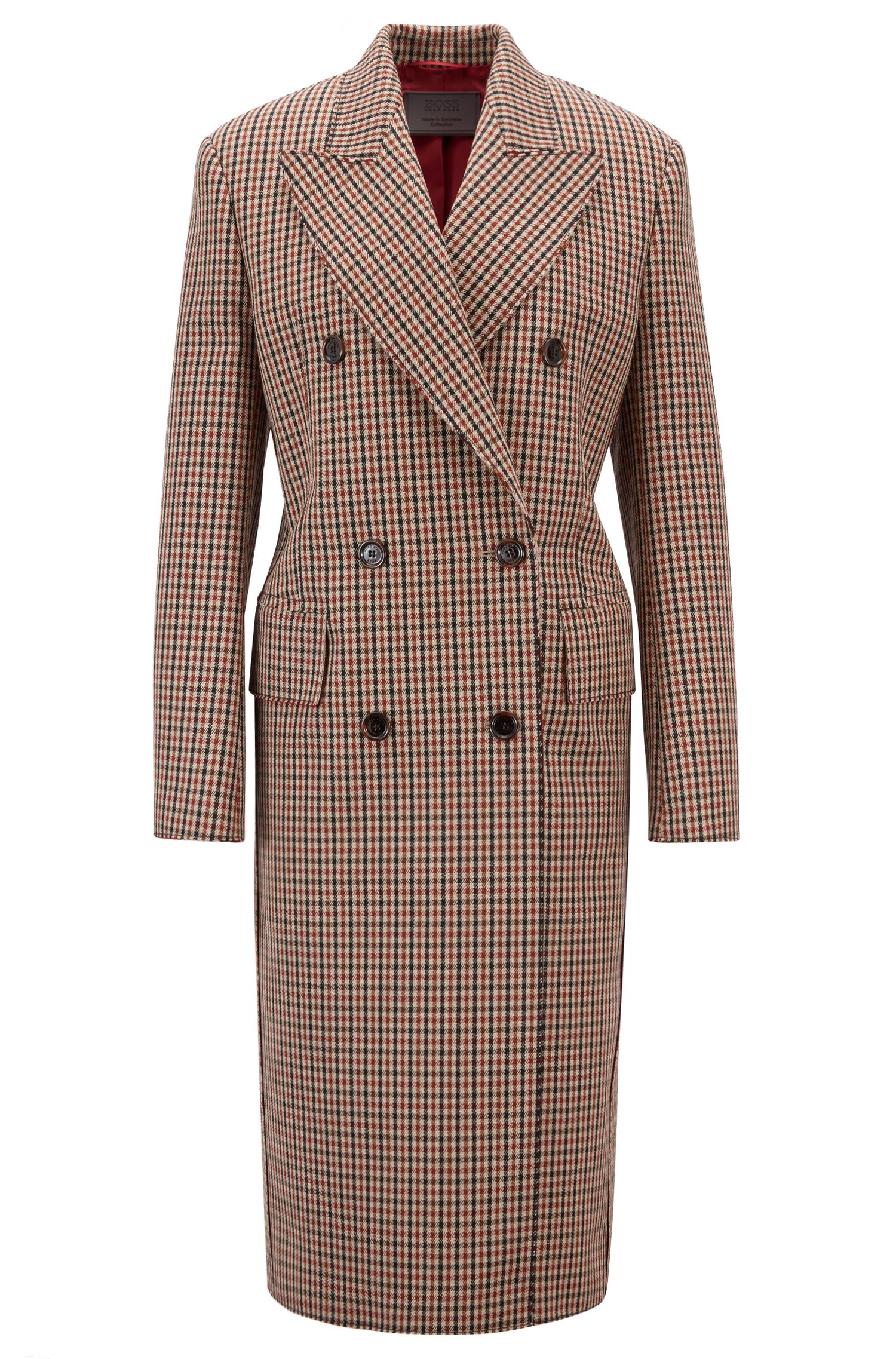 Made in Germany double-breasted coat with peak lapels, Light Brown