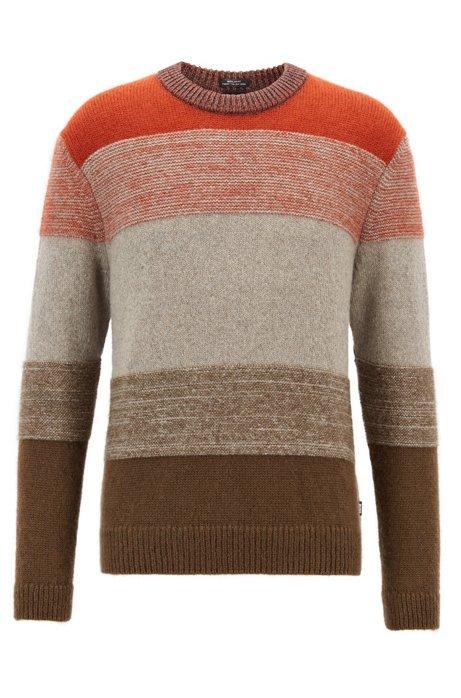 f7393f6b0d0 BOSS - Textured sweater with dégradé color-block stripes