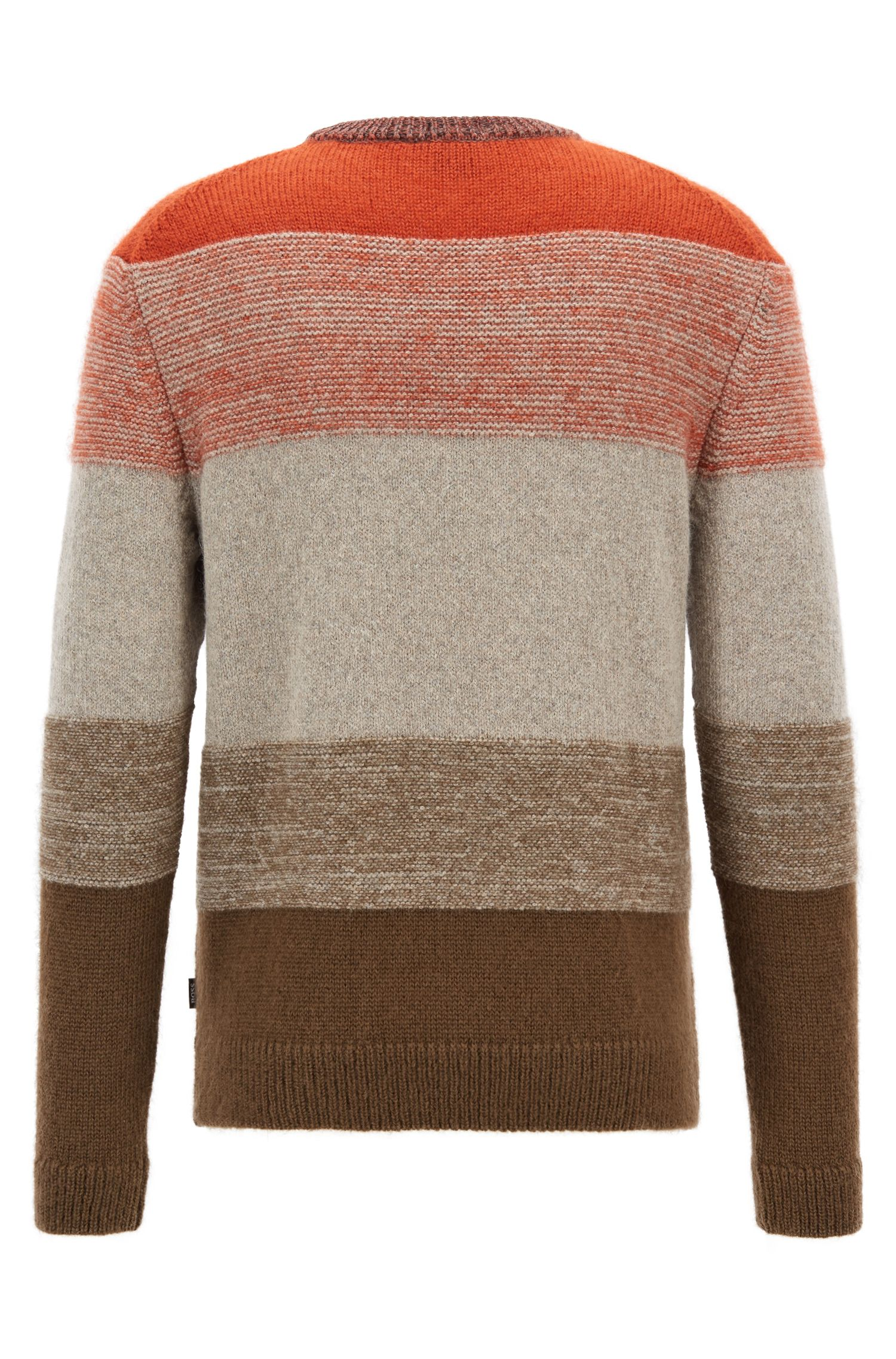 Textured sweater with dégradé color-block stripes, Open Grey