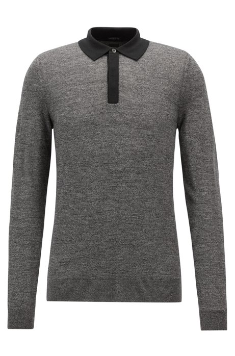 Mouliné wool-blend sweater with contrast polo collar, Black