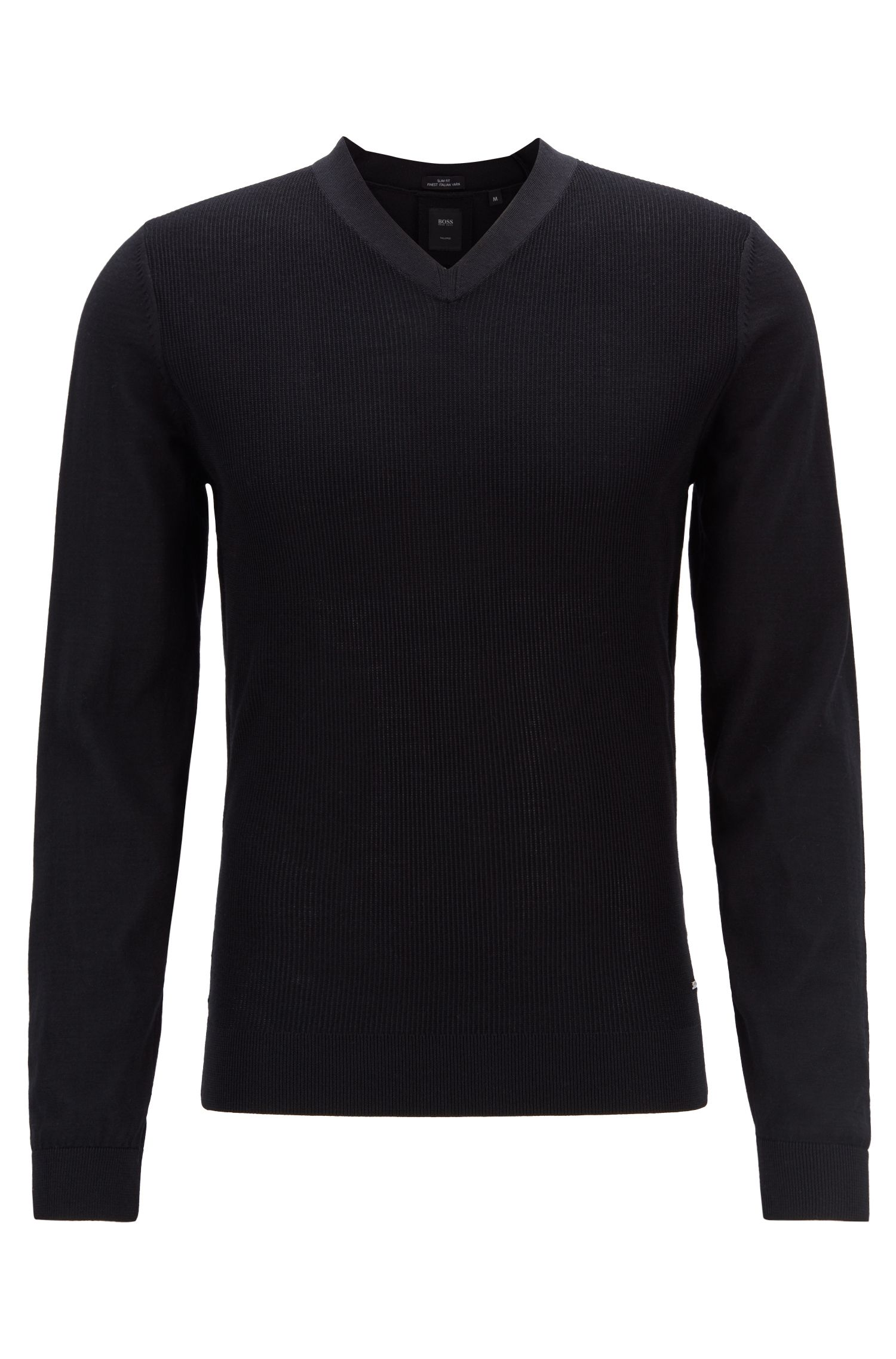 V-neck sweater in a virgin-wool blend with micro-structure, Black